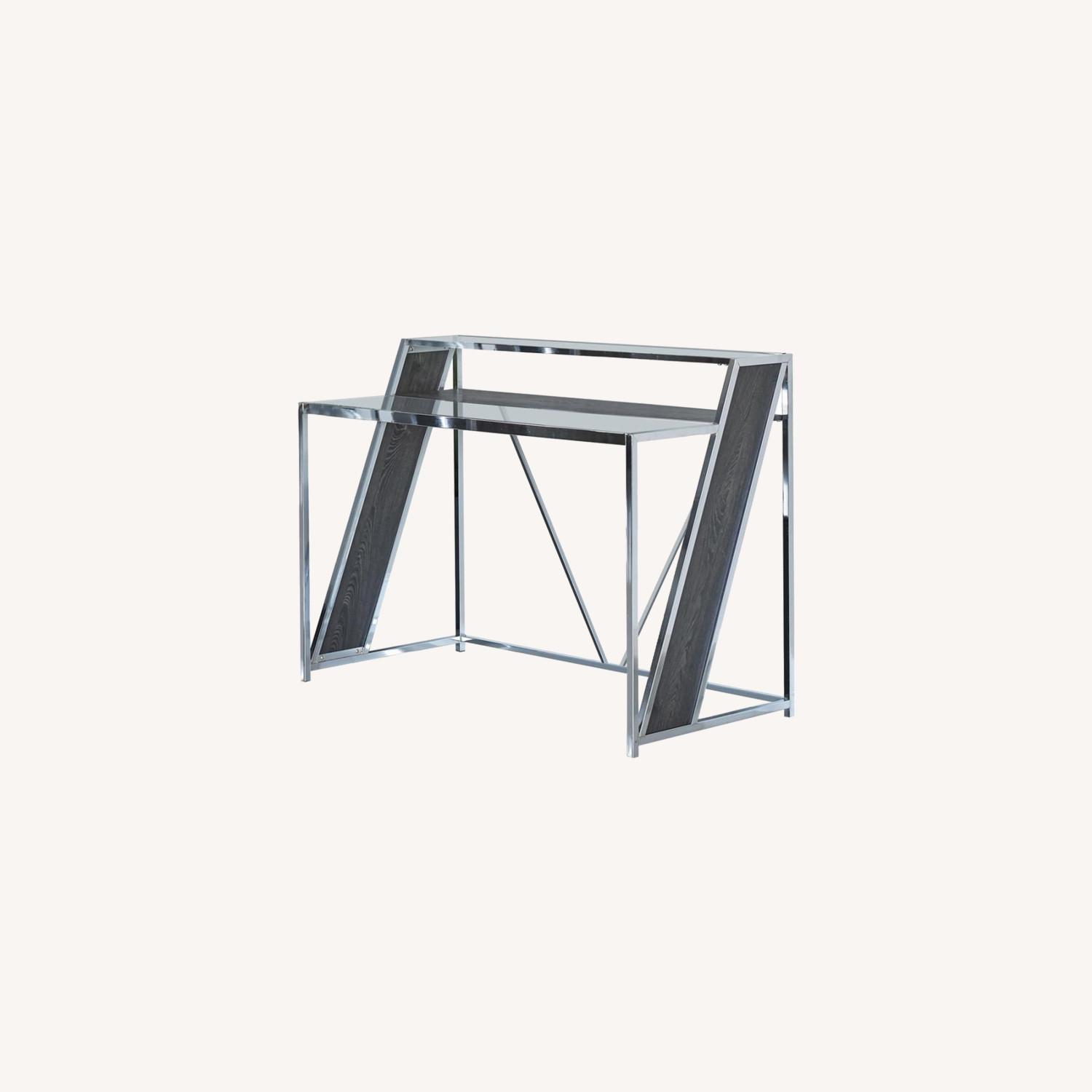 Writing Desk In Chrome W/ Clear Tempered Glass  - image-3
