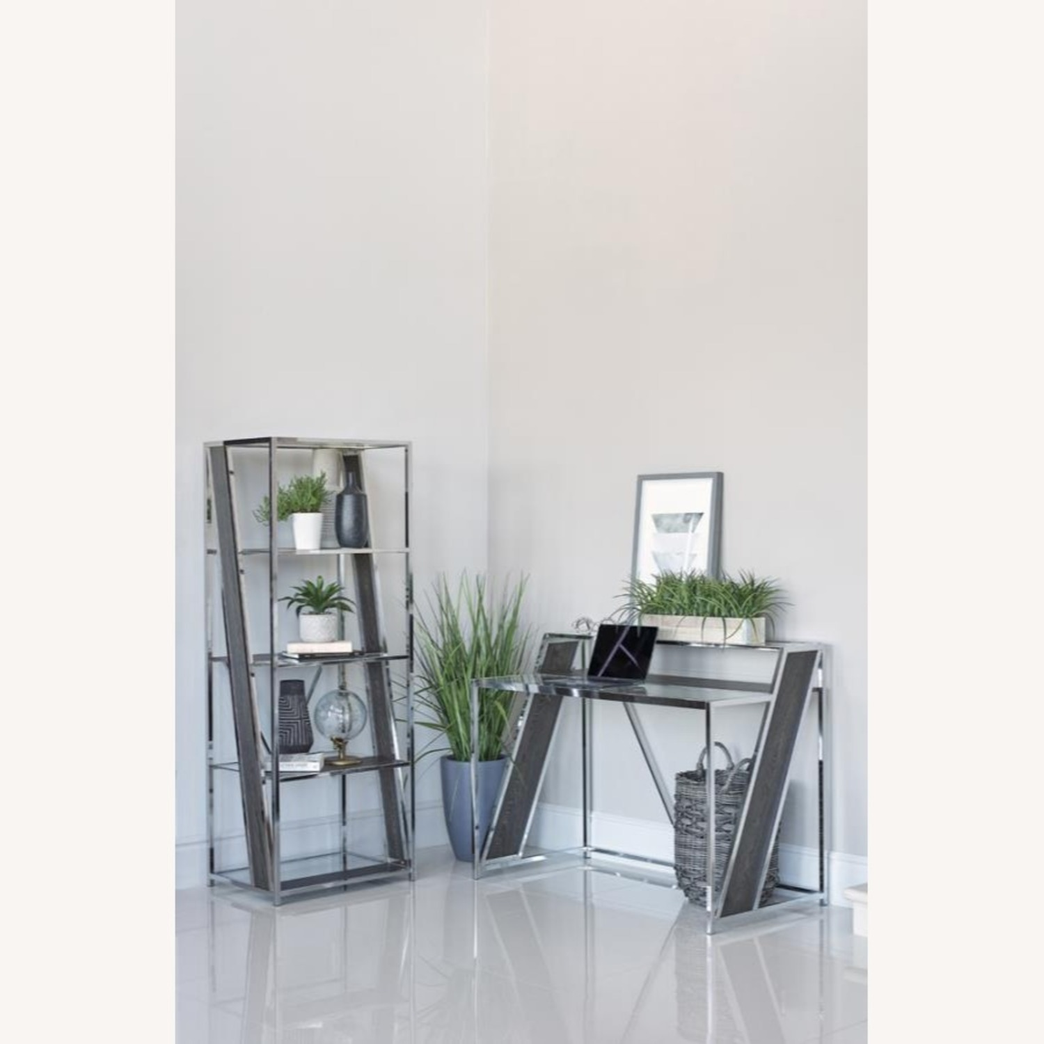 Writing Desk In Chrome W/ Clear Tempered Glass  - image-2