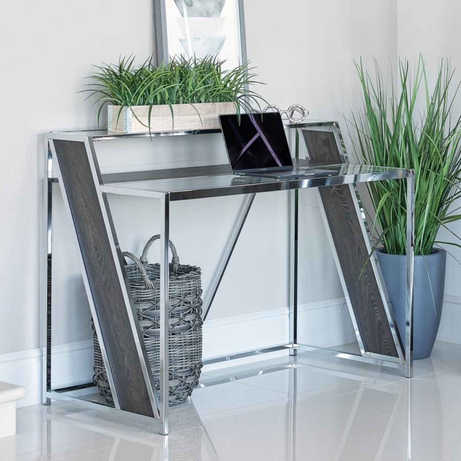 Writing Desk In Chrome W/ Clear Tempered Glass  - image-1