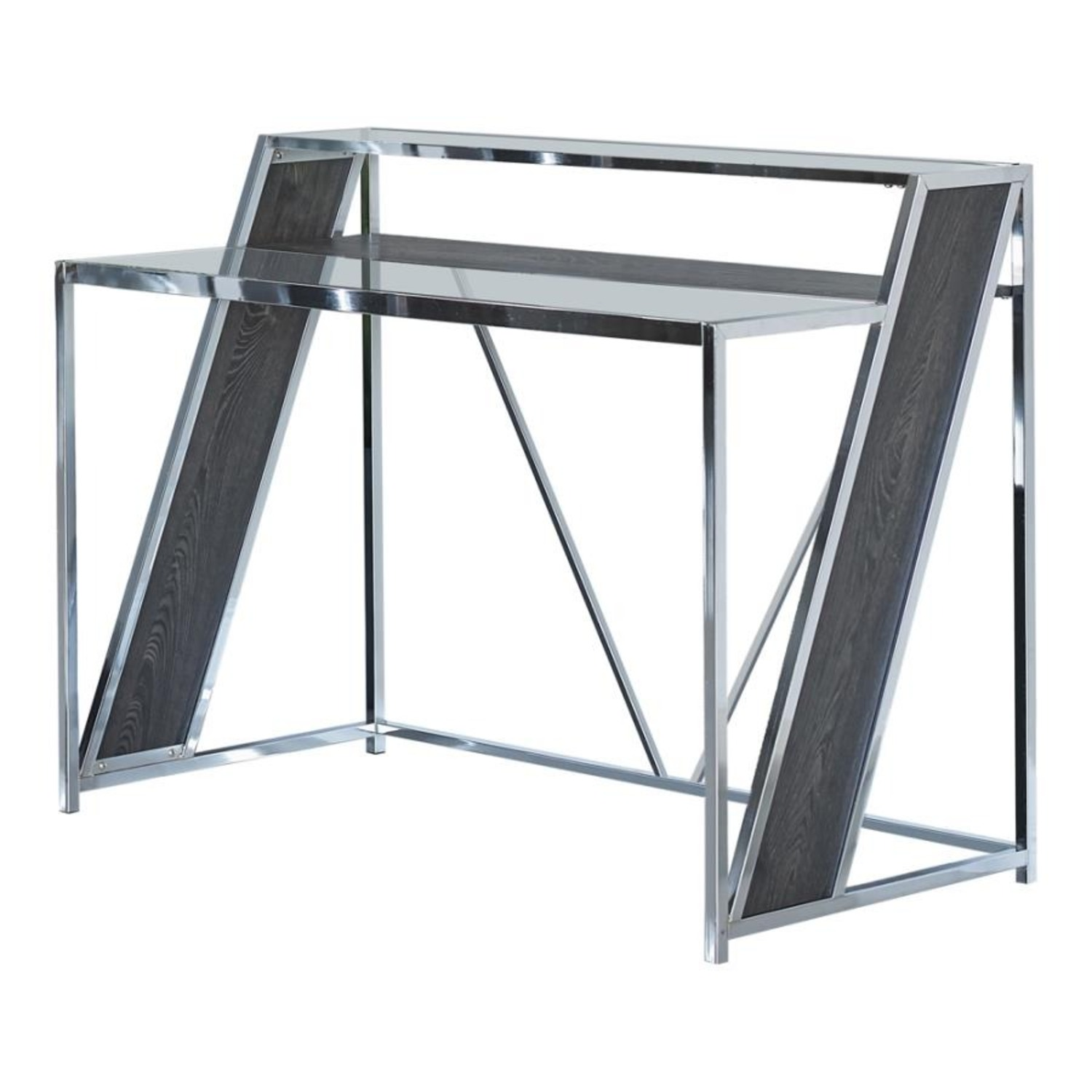 Writing Desk In Chrome W/ Clear Tempered Glass  - image-0