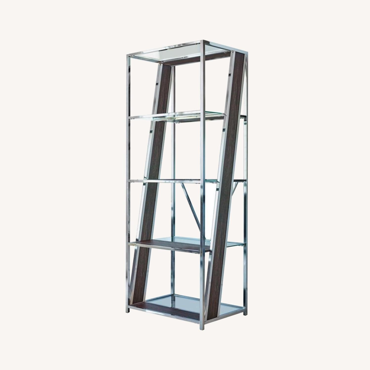 Bookcase In Chrome W/ Tempered Glass Tops - image-3