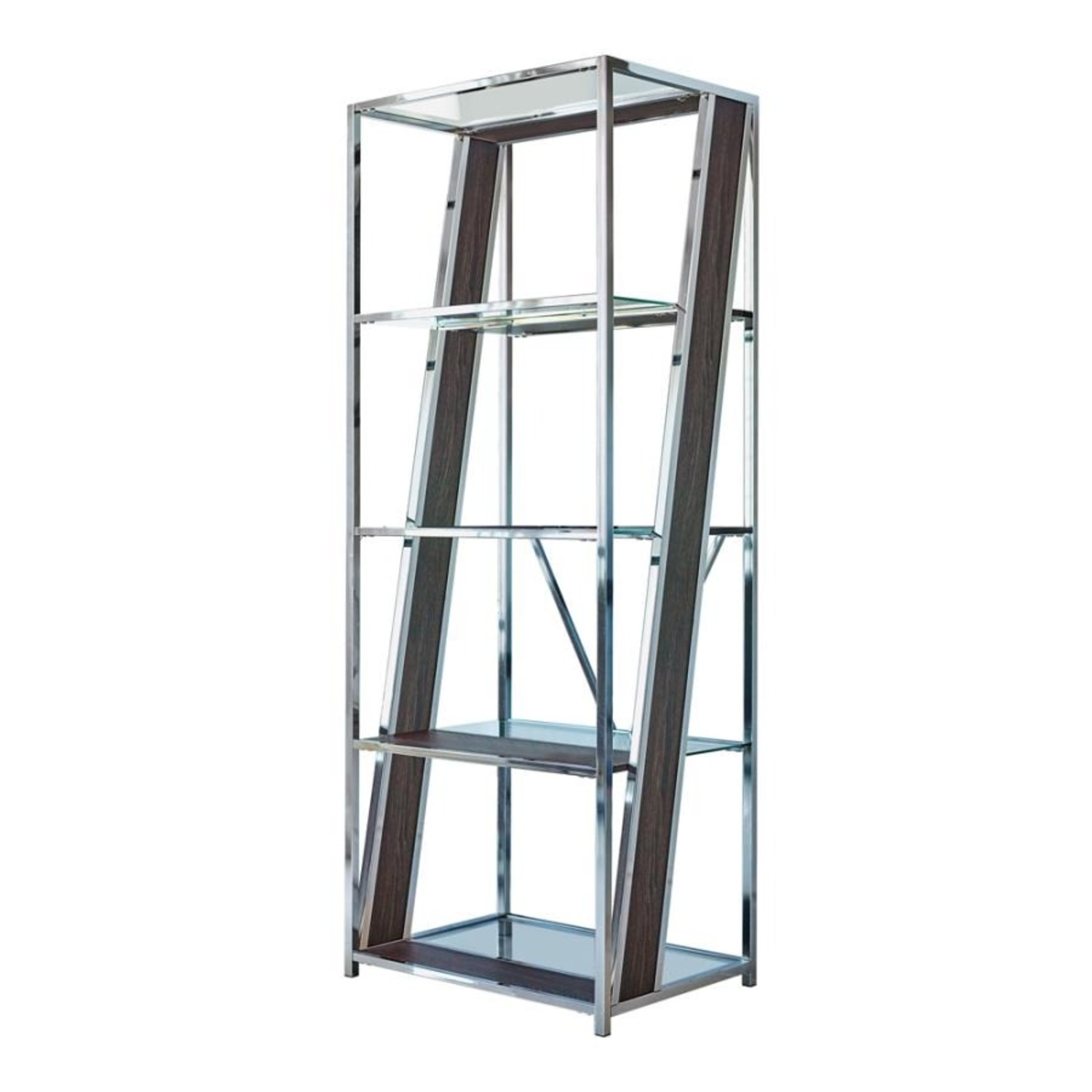 Bookcase In Chrome W/ Tempered Glass Tops - image-0