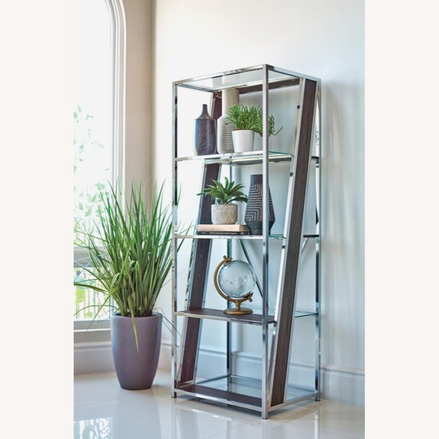 Bookcase In Chrome W/ Tempered Glass Tops - image-1