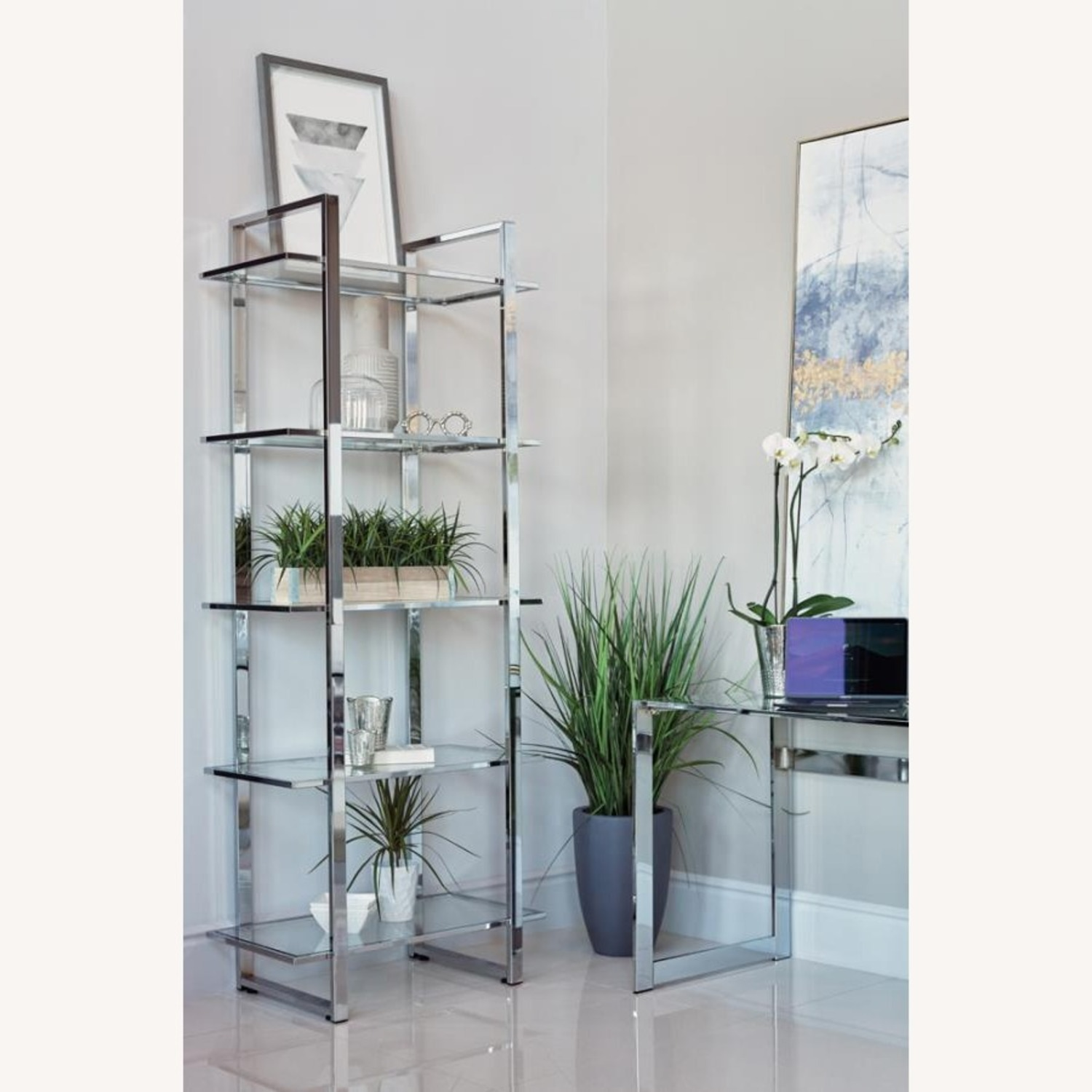 Bookcase In Chrome Finish W/ 5-Tier Shelves - image-2