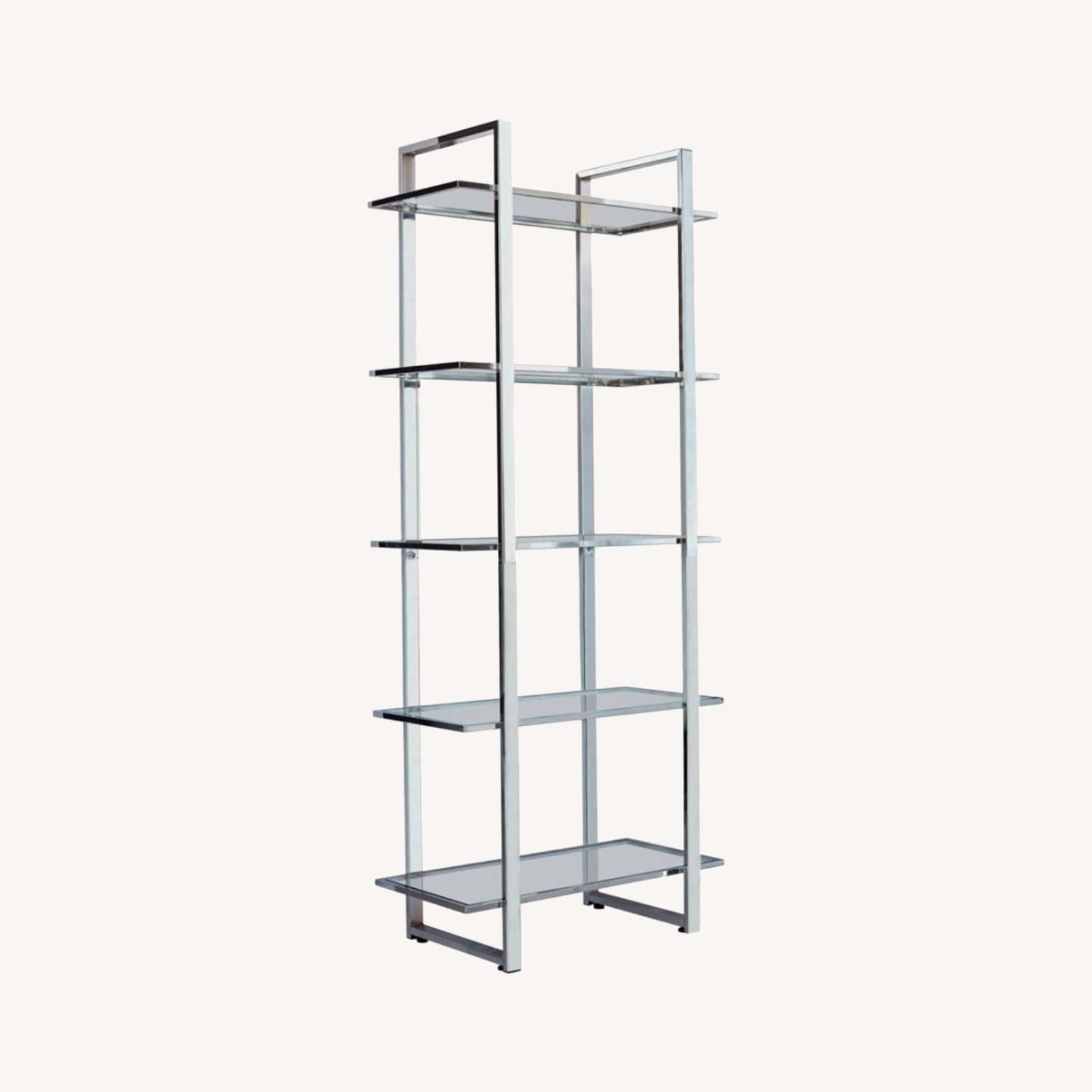 Bookcase In Chrome Finish W/ 5-Tier Shelves - image-3