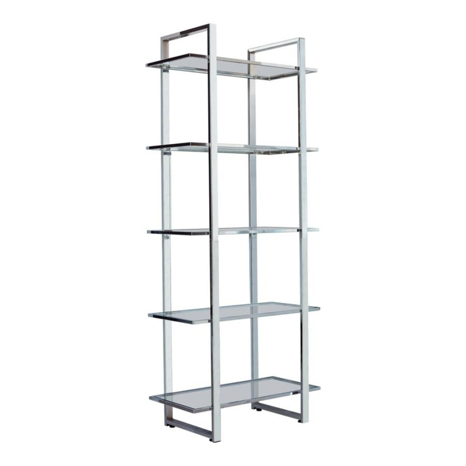 Bookcase In Chrome Finish W/ 5-Tier Shelves - image-0