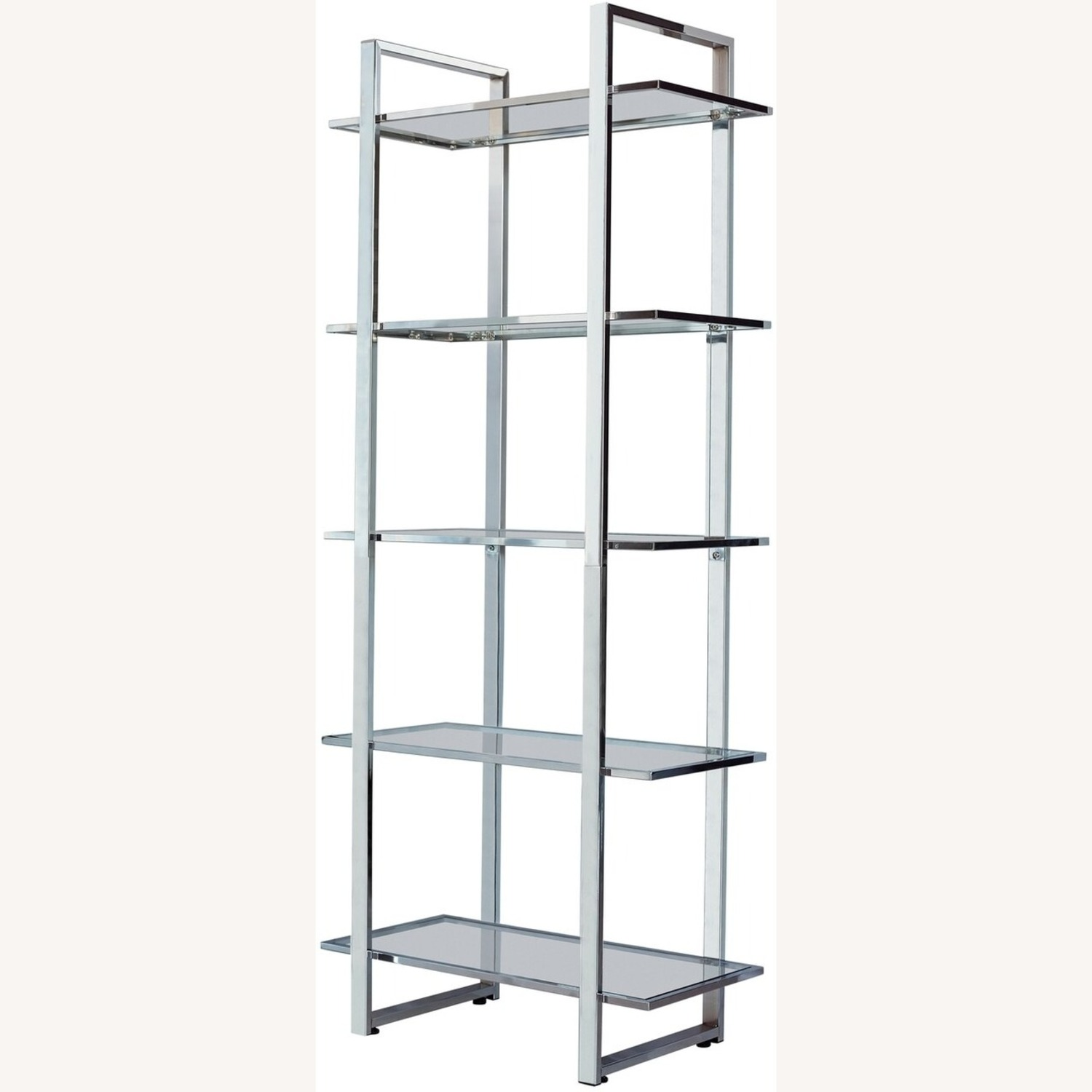 Bookcase In Chrome Finish W/ 5-Tier Shelves - image-1