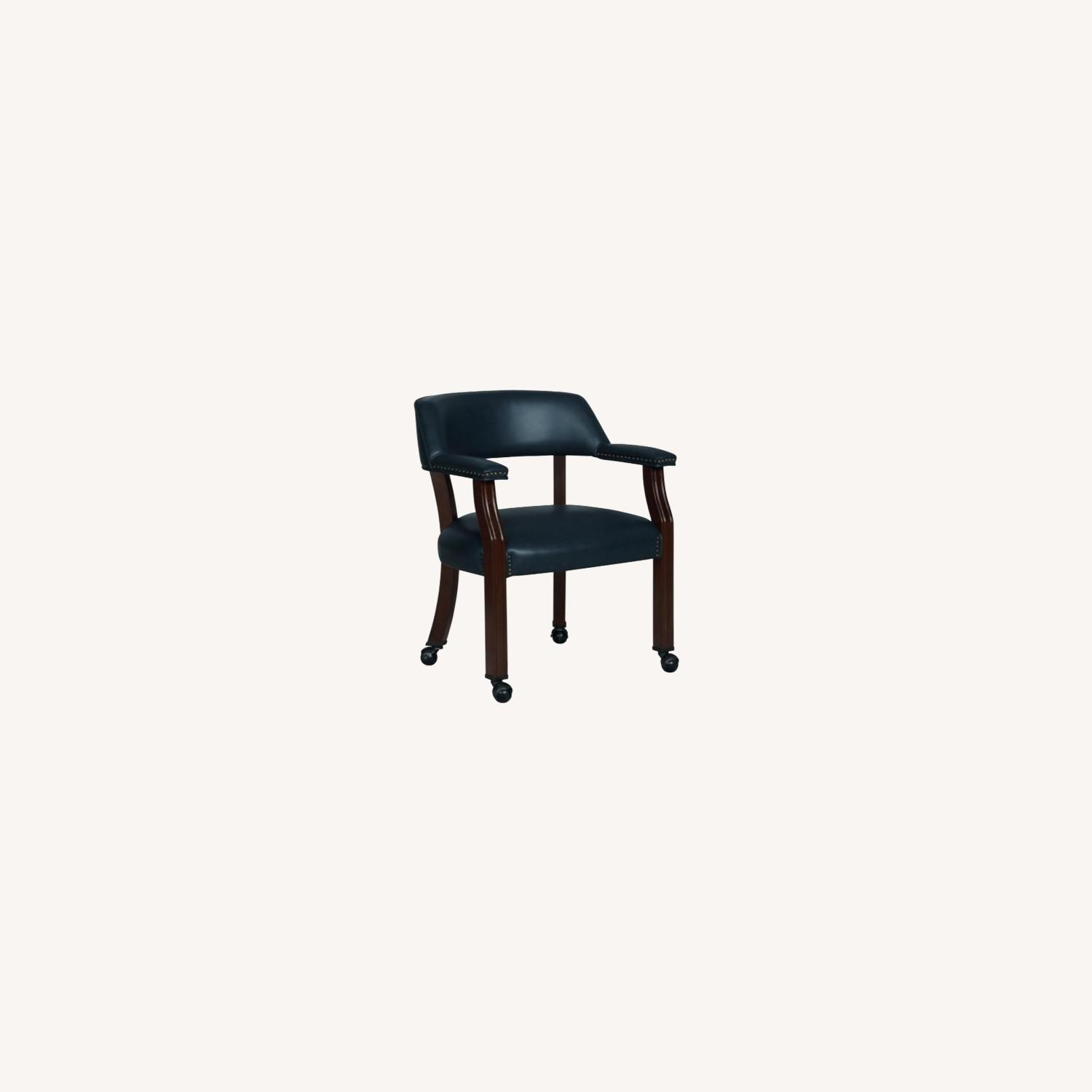 Guest Chair In Blue Leather W/ Wheeled Legs - image-3