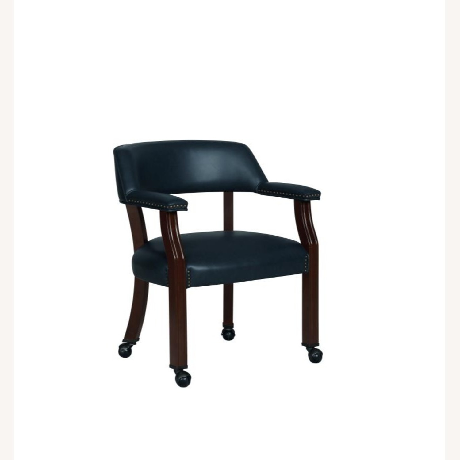 Guest Chair In Blue Leather W/ Wheeled Legs - image-0
