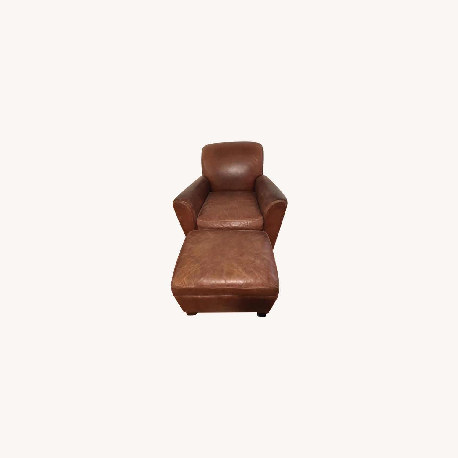 Pottery Barn Vintage Leather Club Chair and Ottoman - image-0
