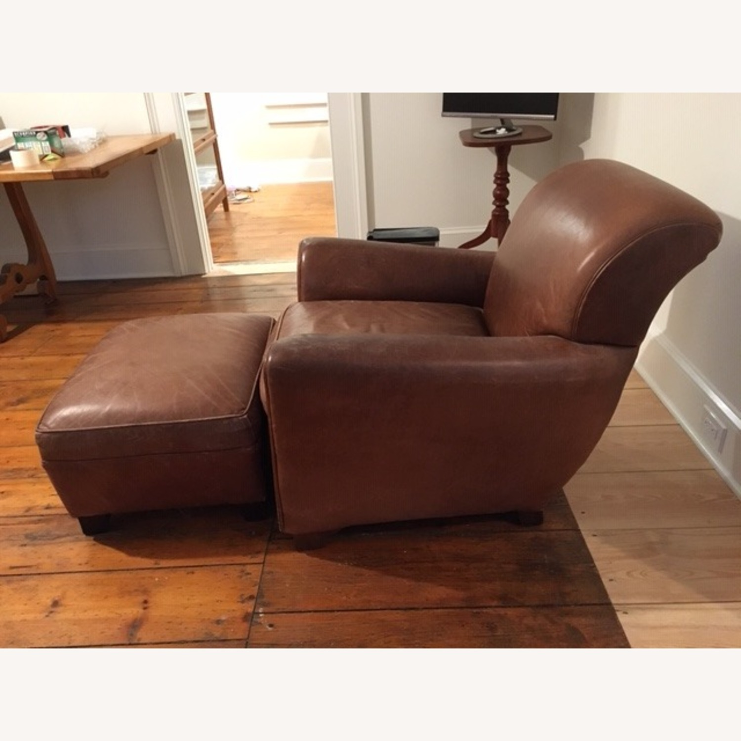 Pottery Barn Vintage Leather Club Chair and Ottoman - image-2