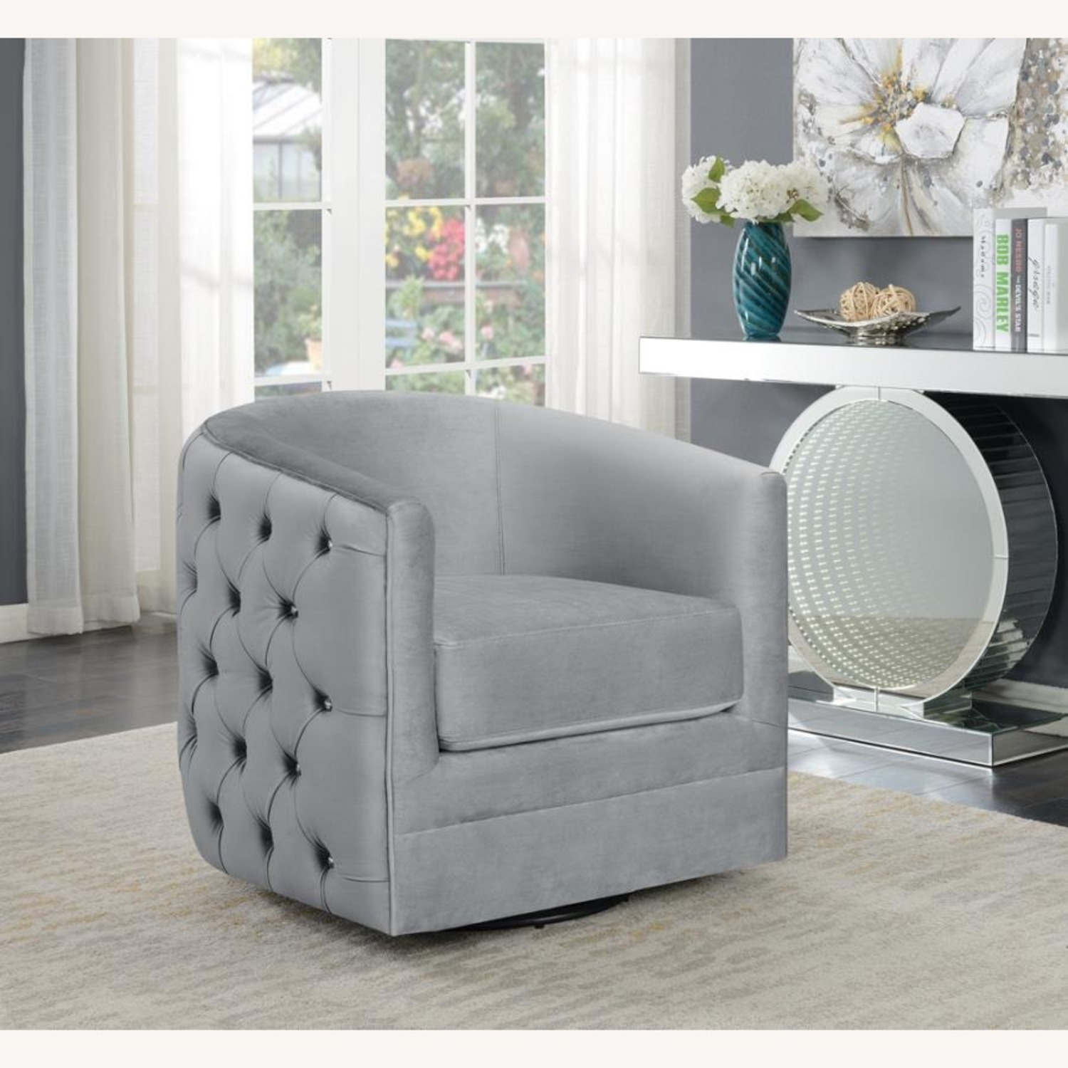 Accent Chair In Grey Velvet W/ Tufted Rhinestone - image-4