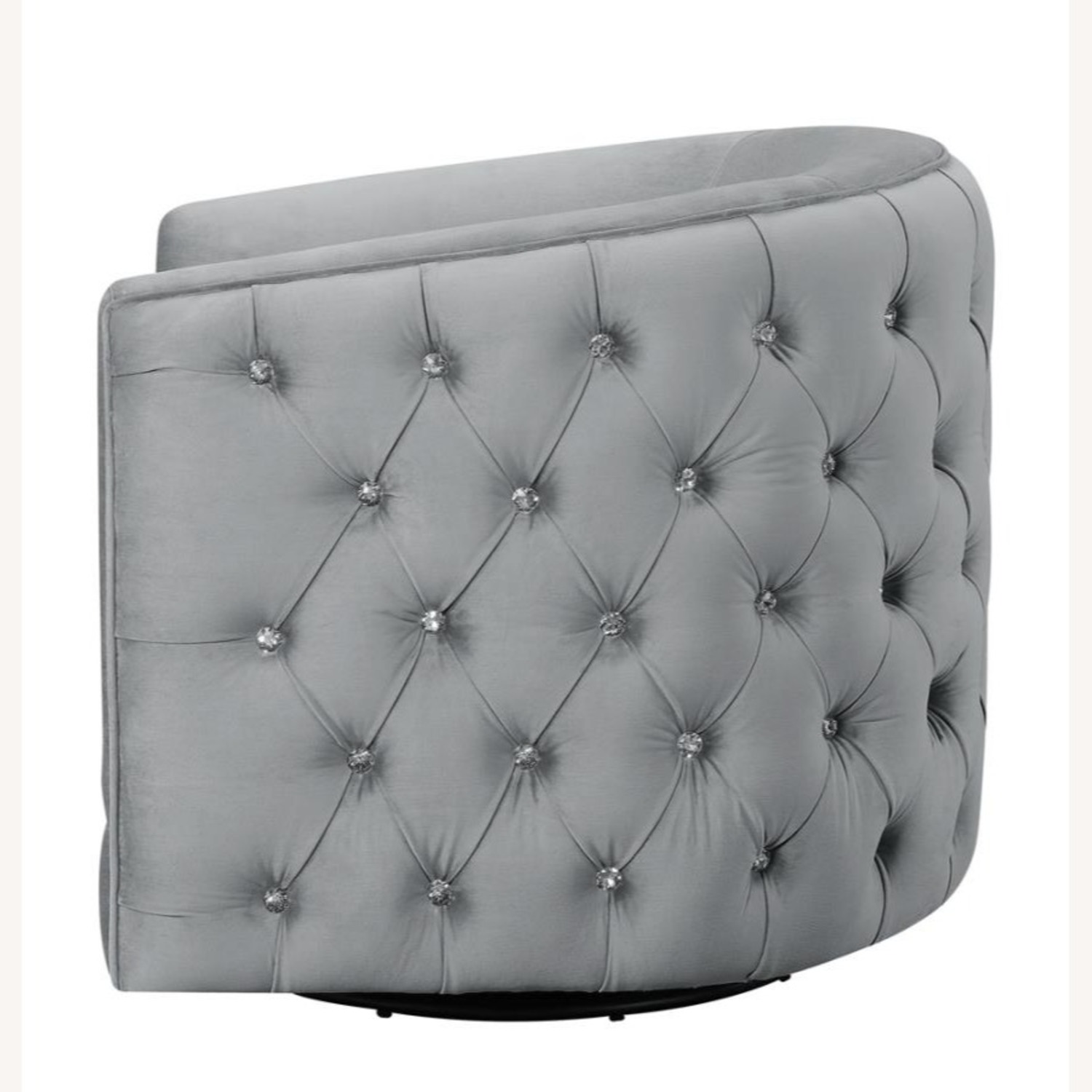 Accent Chair In Grey Velvet W/ Tufted Rhinestone - image-2