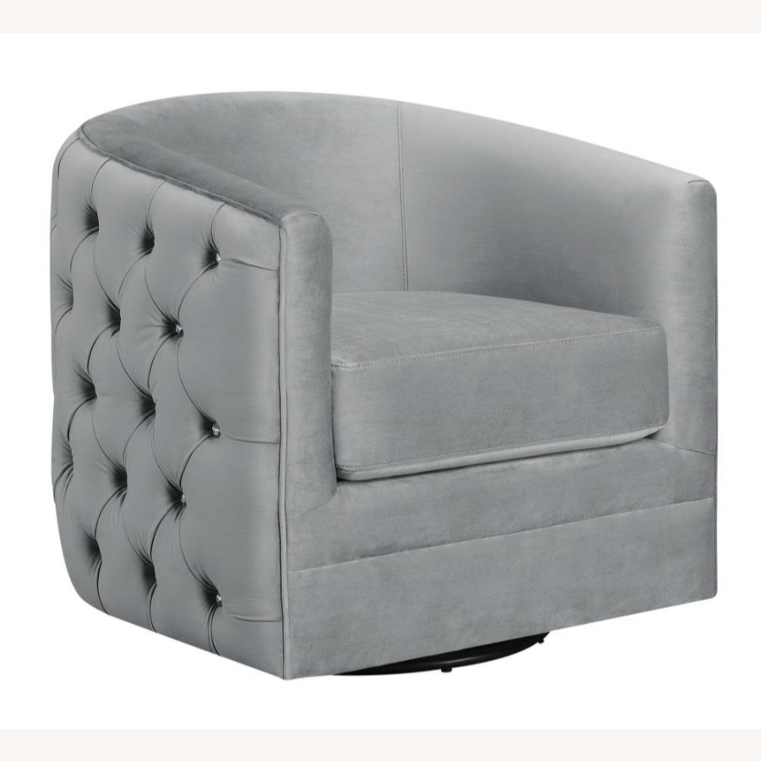 Accent Chair In Grey Velvet W/ Tufted Rhinestone - image-0