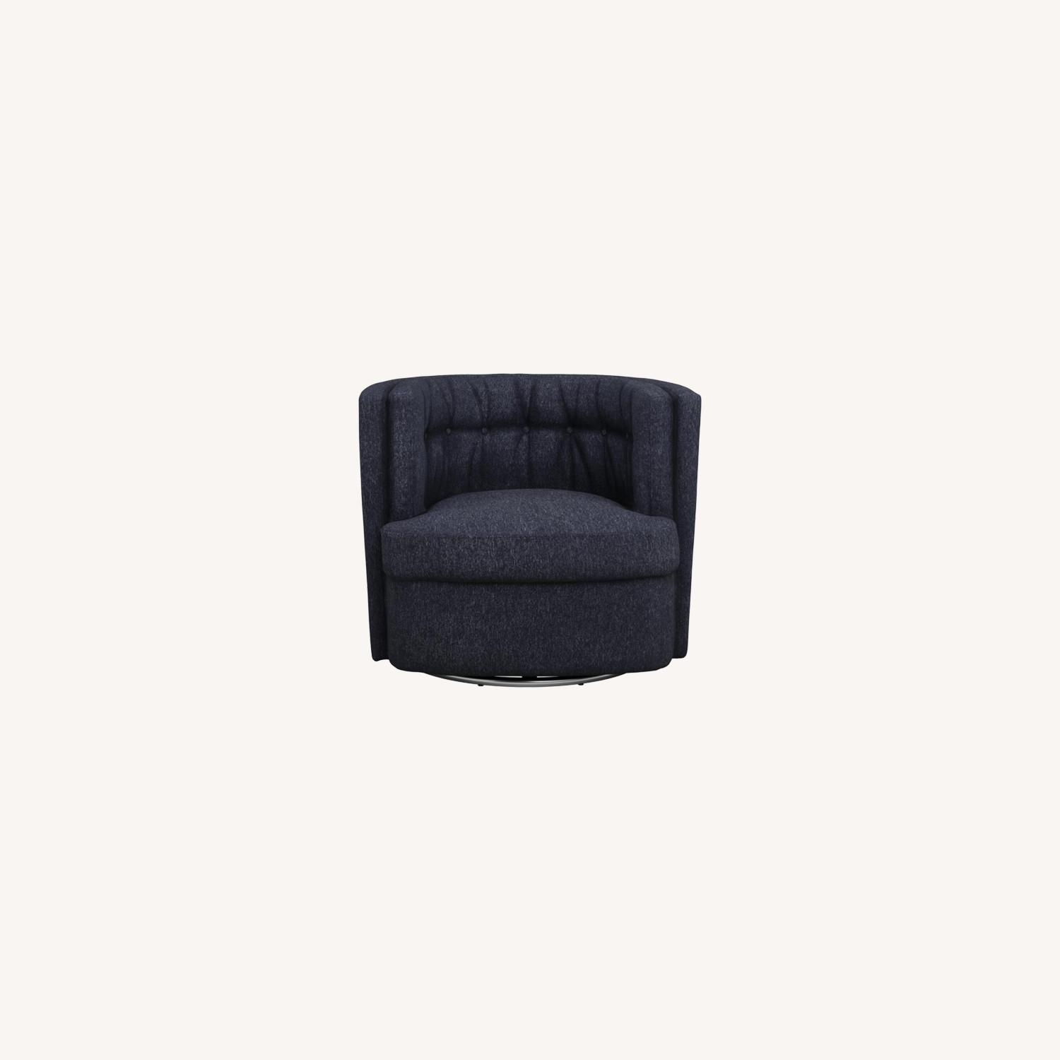 Swivel Accent Chair In Dark Blue Low Pile Chenille - image-5