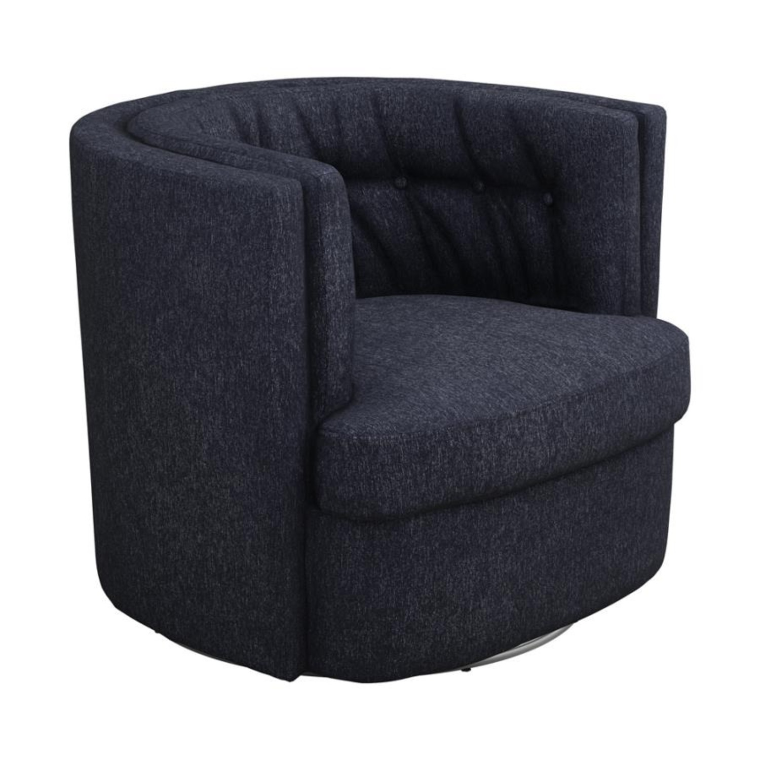 Swivel Accent Chair In Dark Blue Low Pile Chenille - image-0