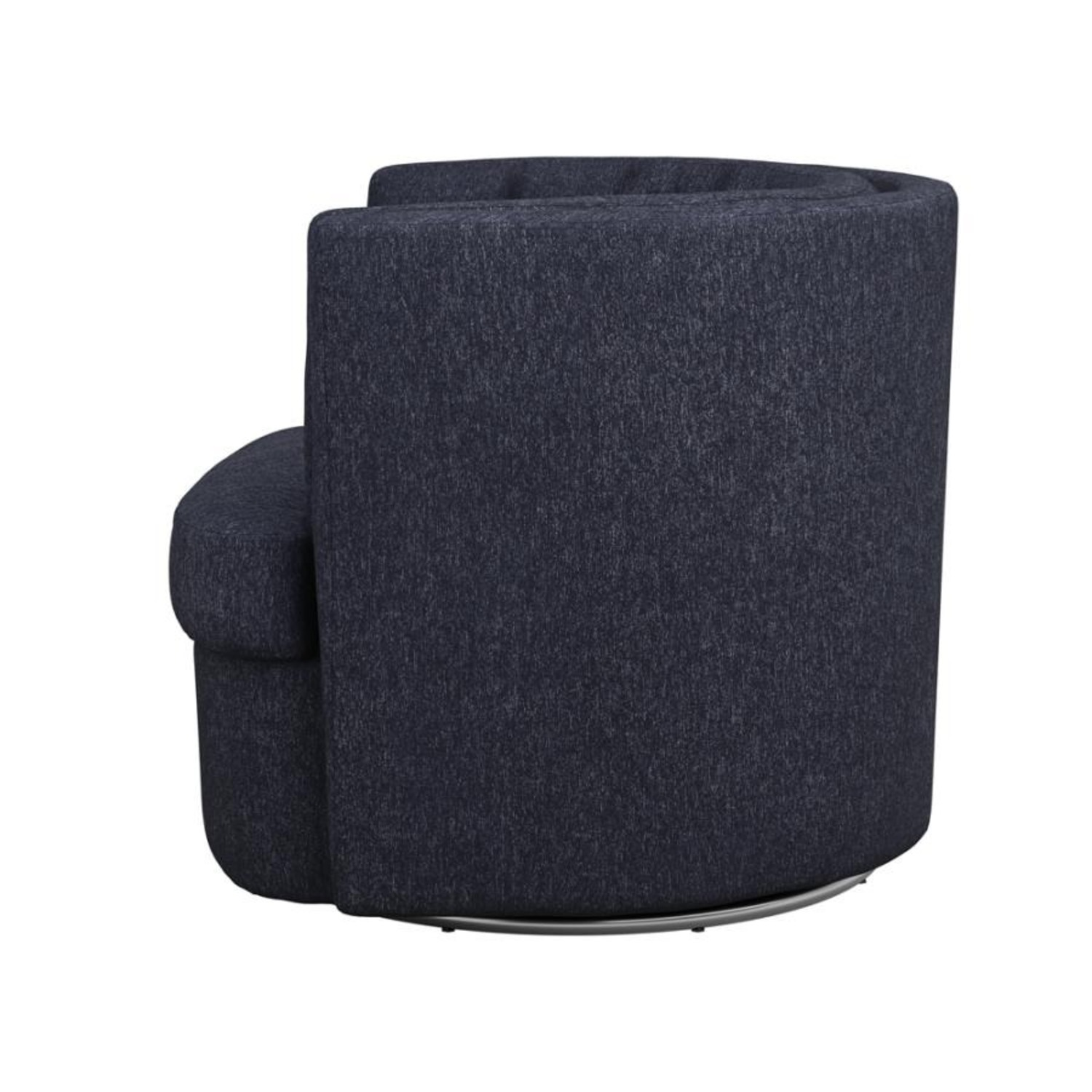 Swivel Accent Chair In Dark Blue Low Pile Chenille - image-2