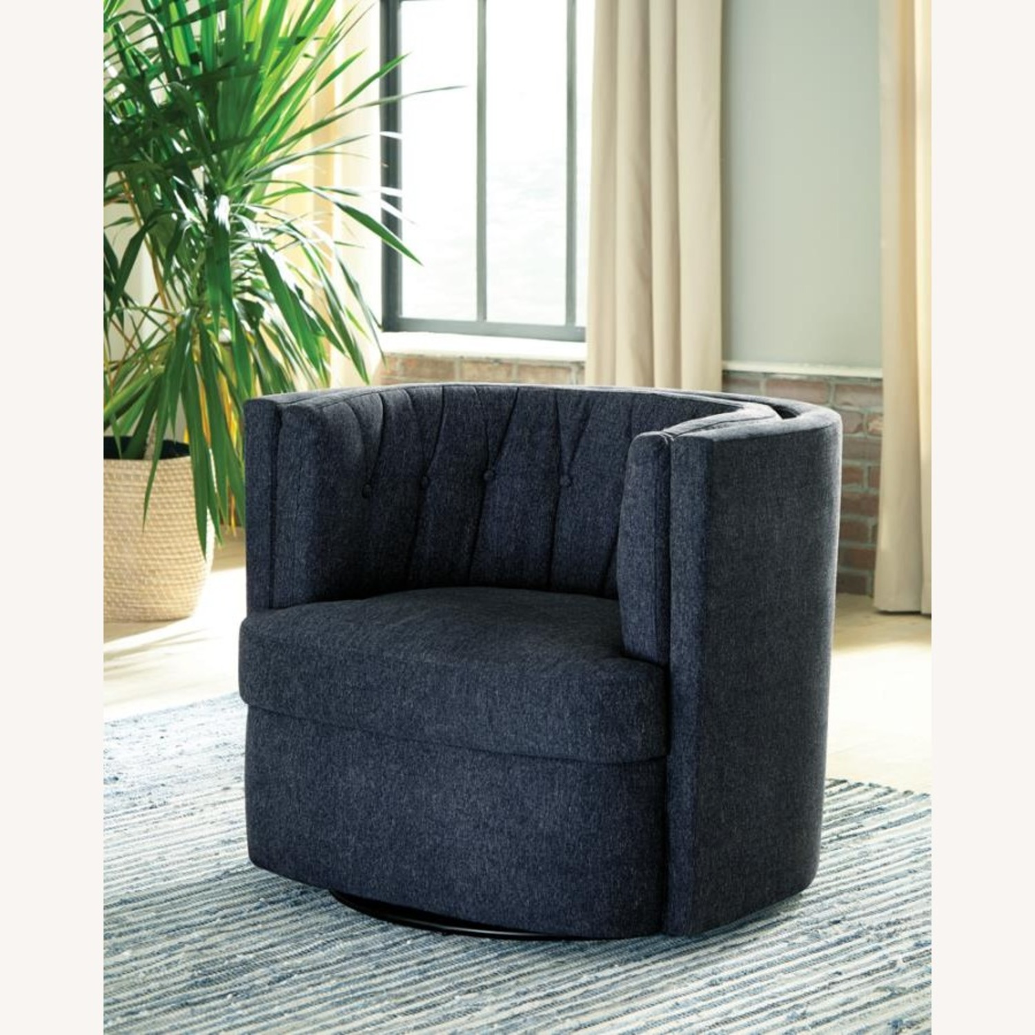 Swivel Accent Chair In Dark Blue Low Pile Chenille - image-4
