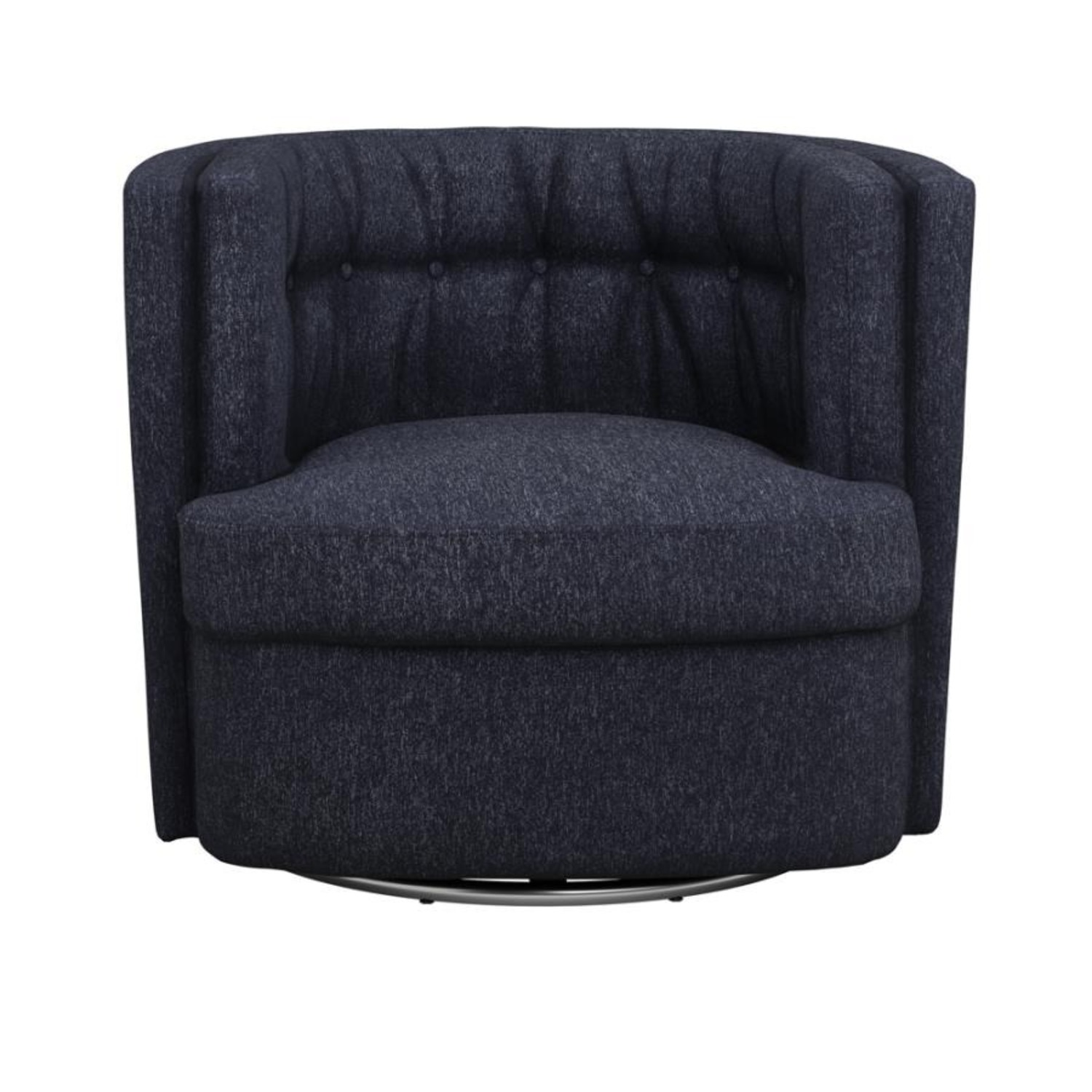 Swivel Accent Chair In Dark Blue Low Pile Chenille - image-1