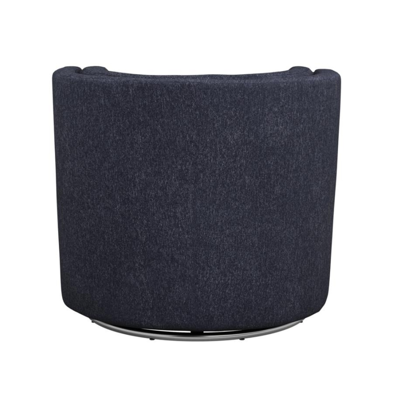 Swivel Accent Chair In Dark Blue Low Pile Chenille - image-3