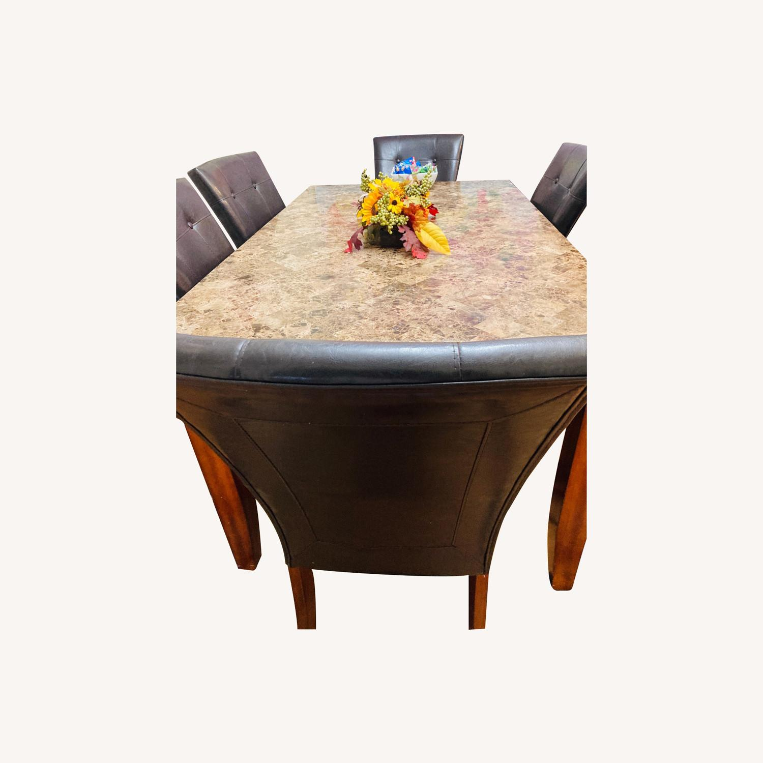 Raymour & Flanigan Marble Top Dining Set - image-0