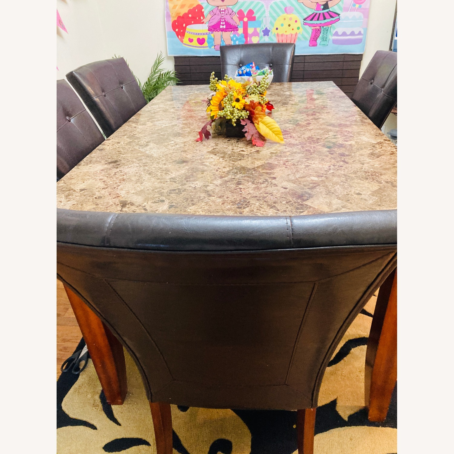 Raymour & Flanigan Marble Top Dining Set - image-1