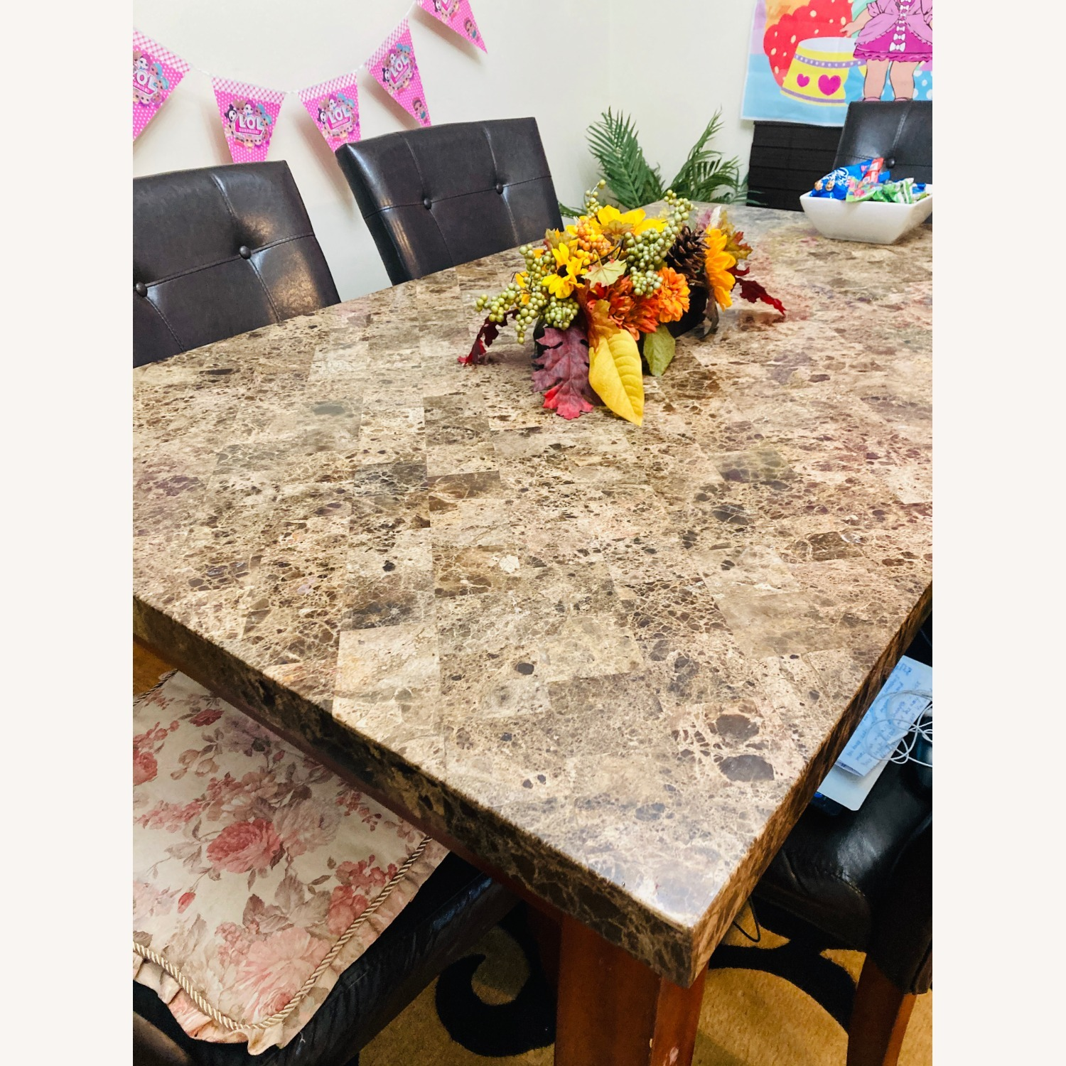 Raymour & Flanigan Marble Top Dining Set - image-3