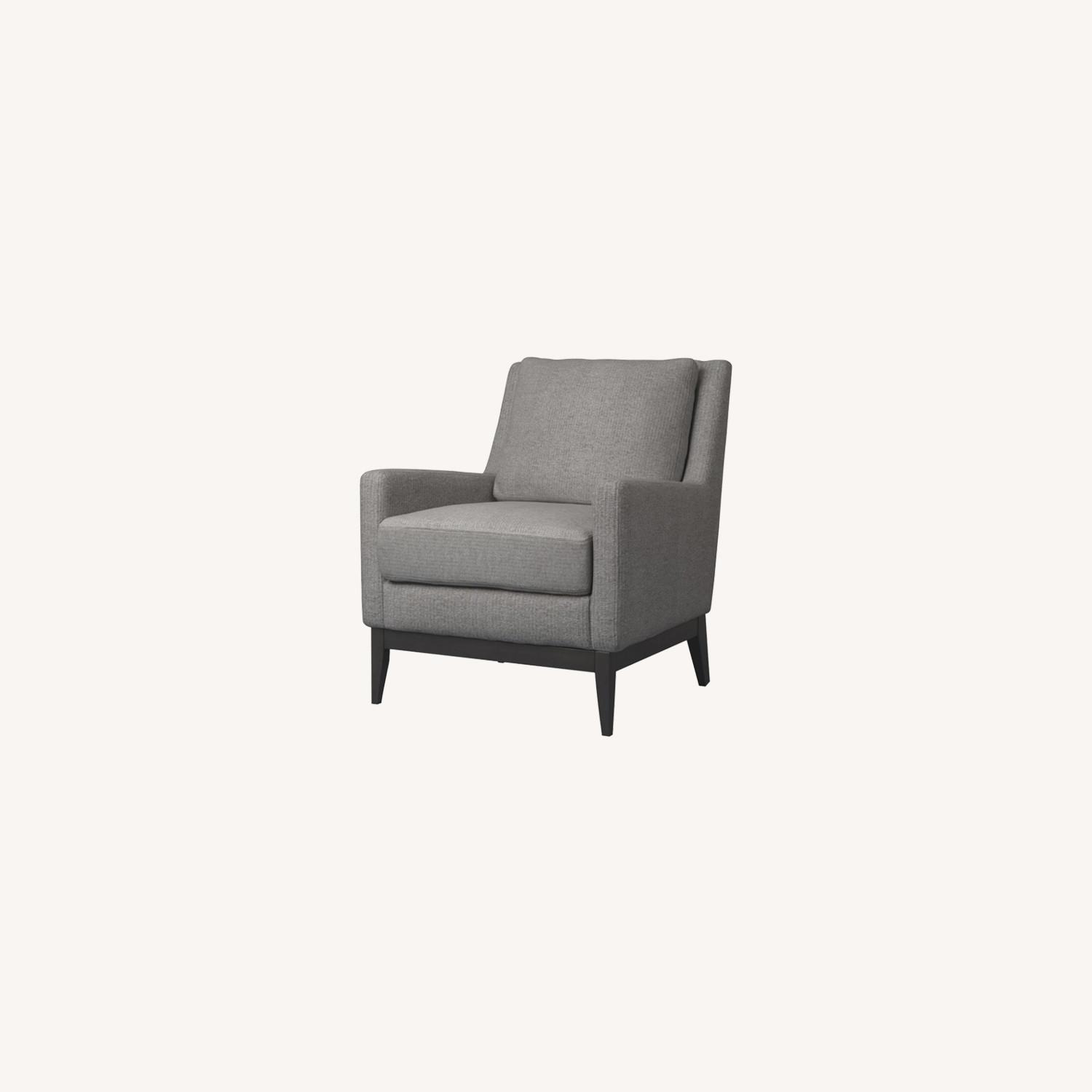 Accent Chair In Linen-Like Warm Grey Fabric Finish - image-3