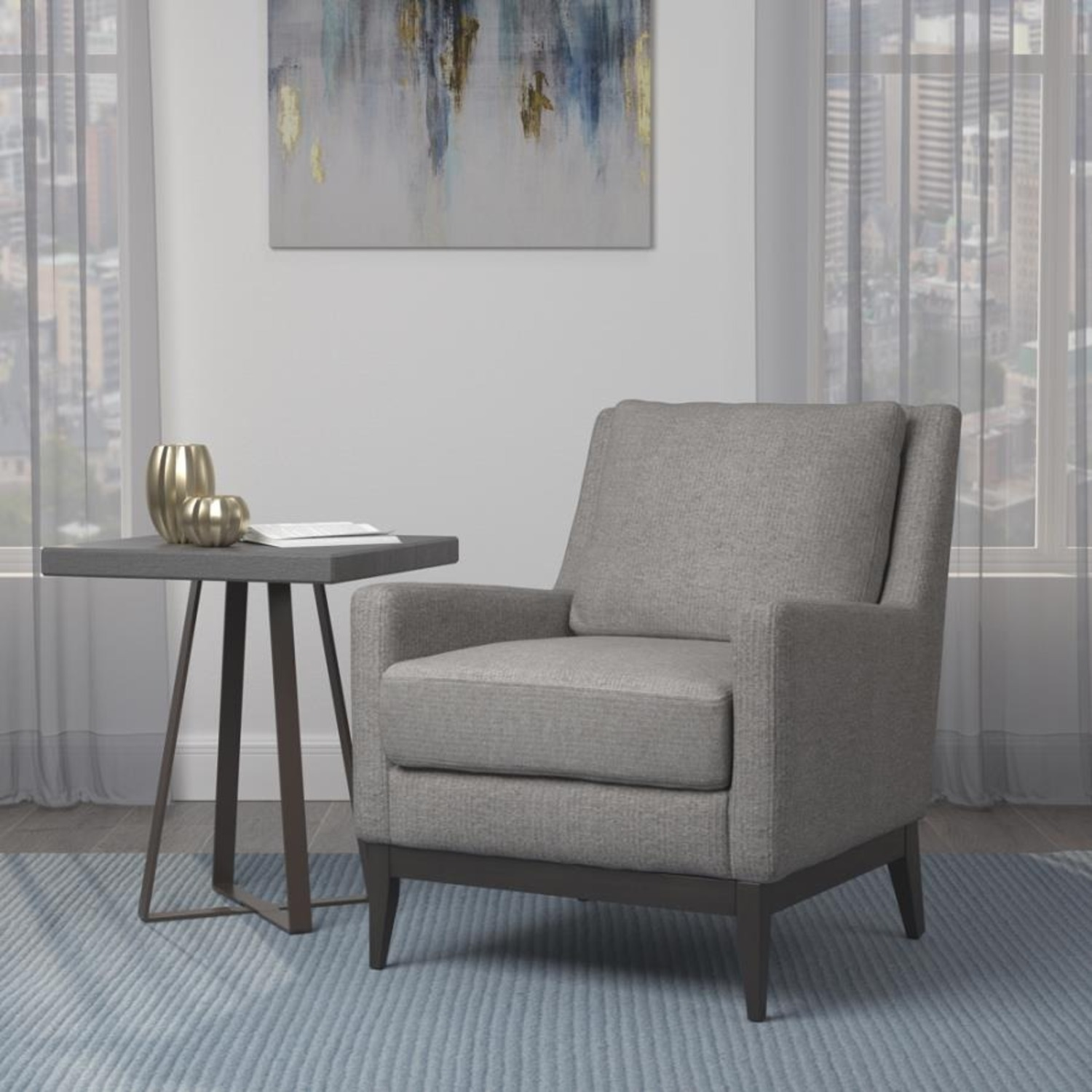 Accent Chair In Linen-Like Warm Grey Fabric Finish - image-2