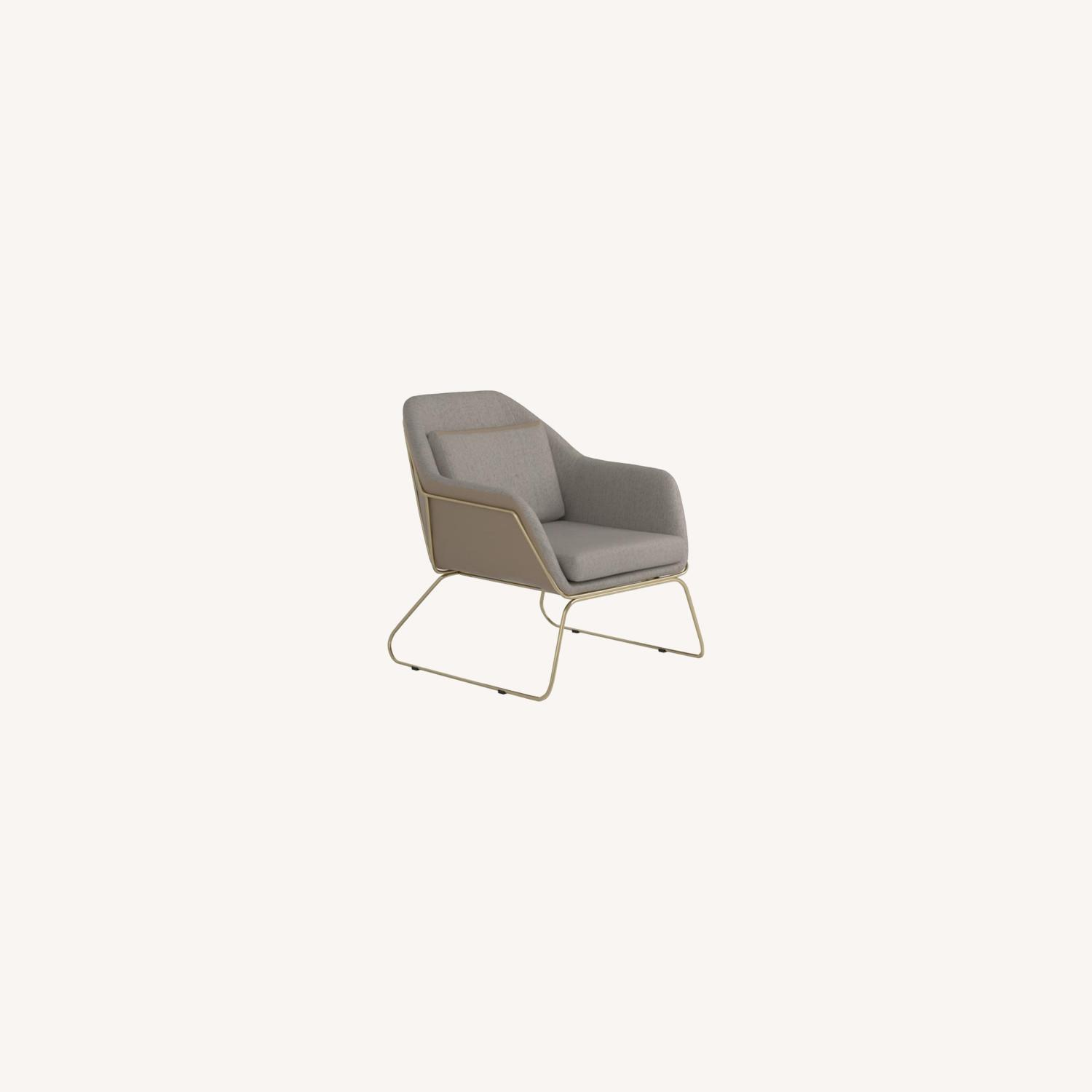 Accent Chair In Linen-Like Beige Fabric - image-3