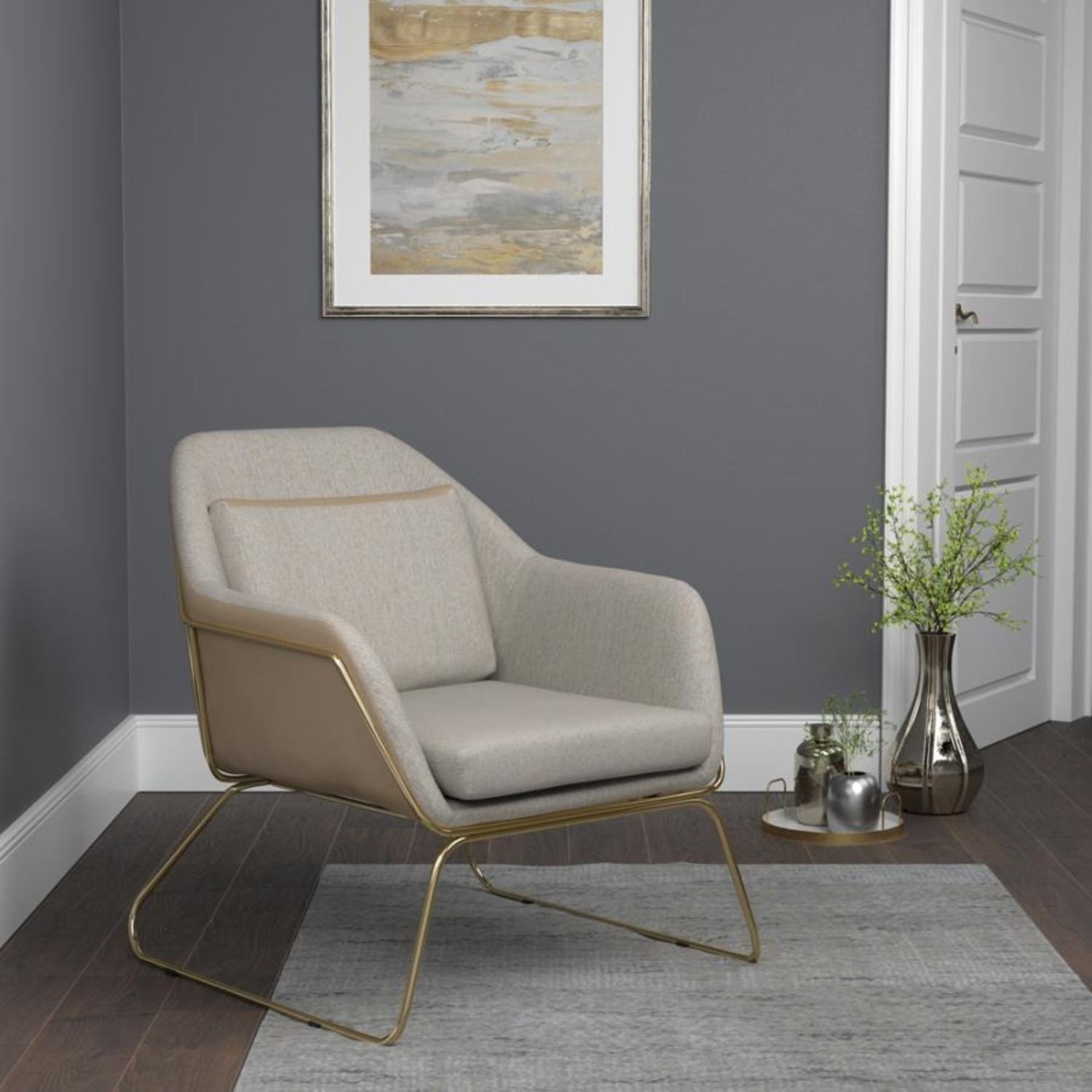 Accent Chair In Linen-Like Beige Fabric - image-2
