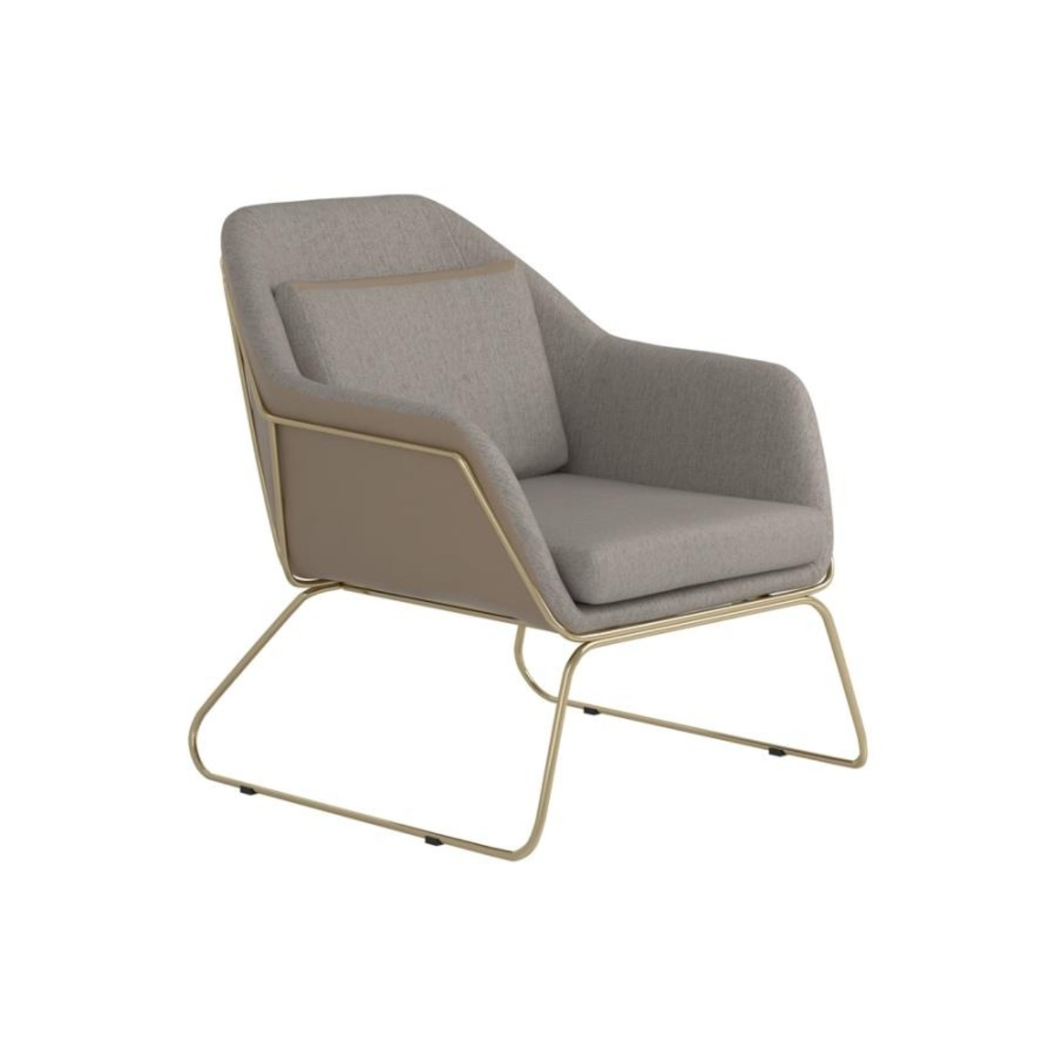 Accent Chair In Linen-Like Beige Fabric - image-0