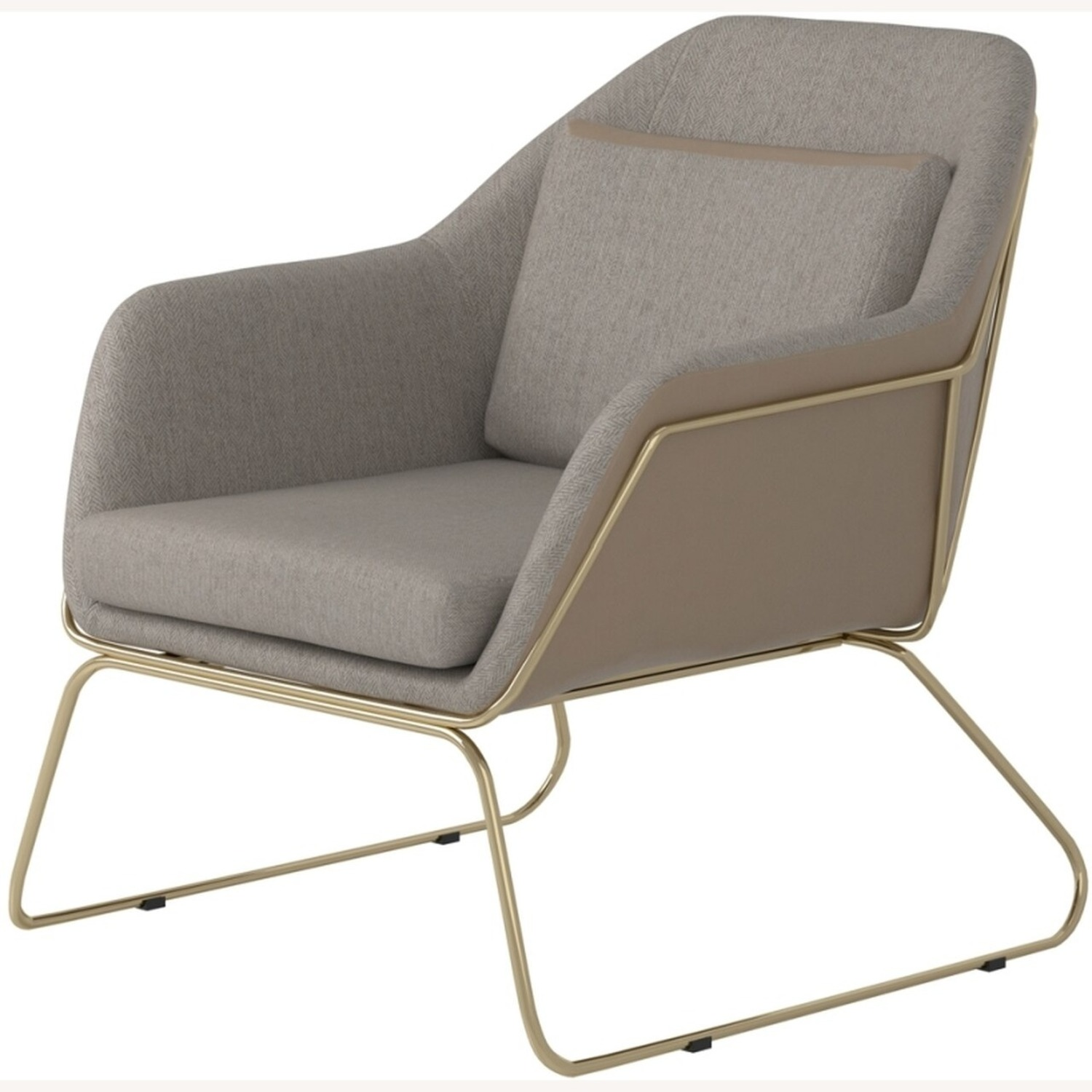 Accent Chair In Linen-Like Beige Fabric - image-1