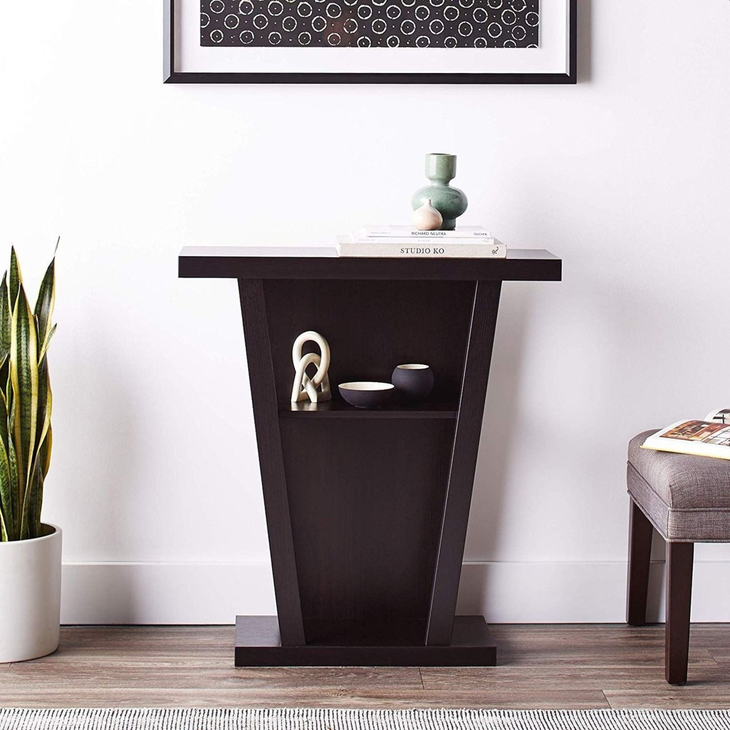 Console Table In Cappuccino W/ 2-Shelves Storage - image-4