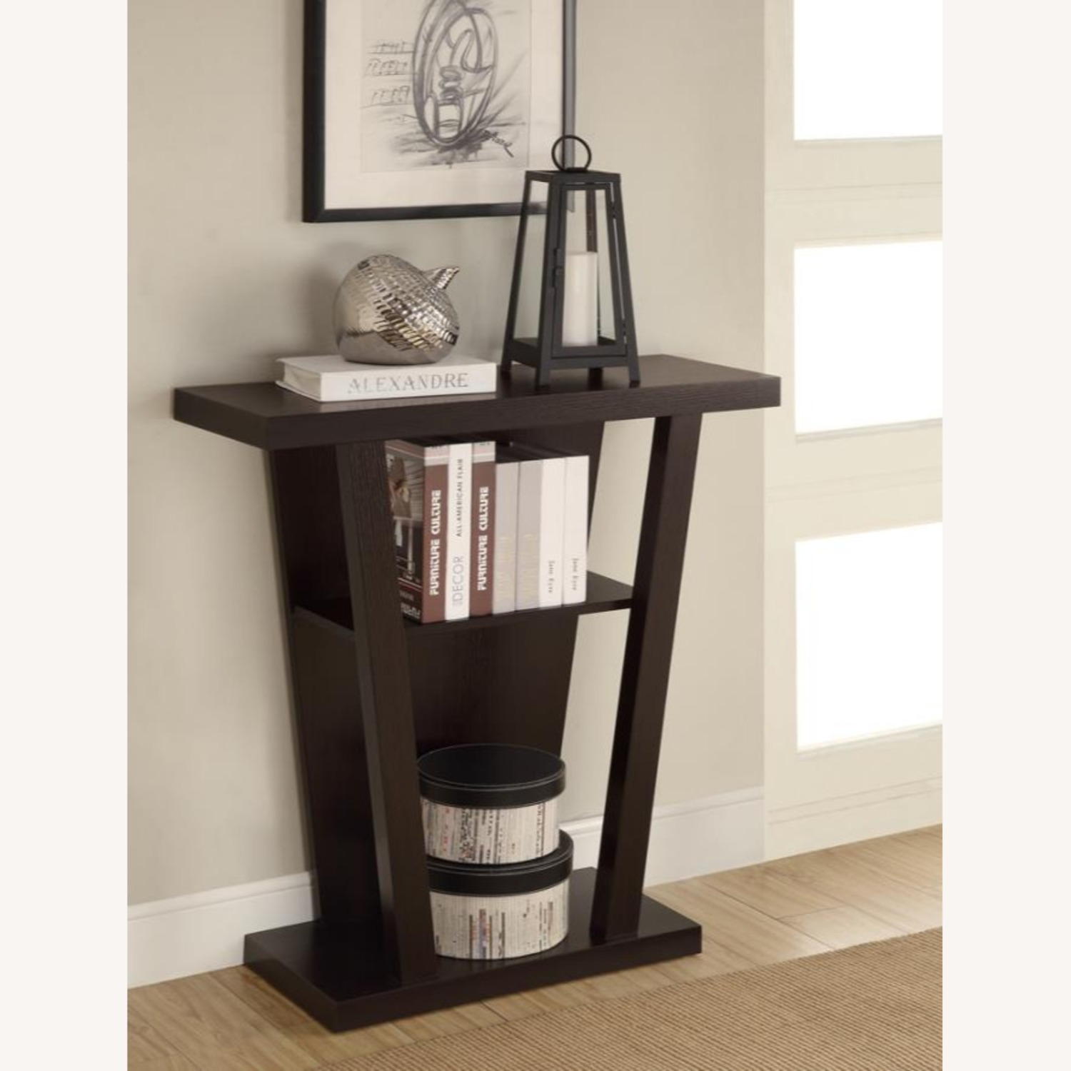 Console Table In Cappuccino W/ 2-Shelves Storage - image-3