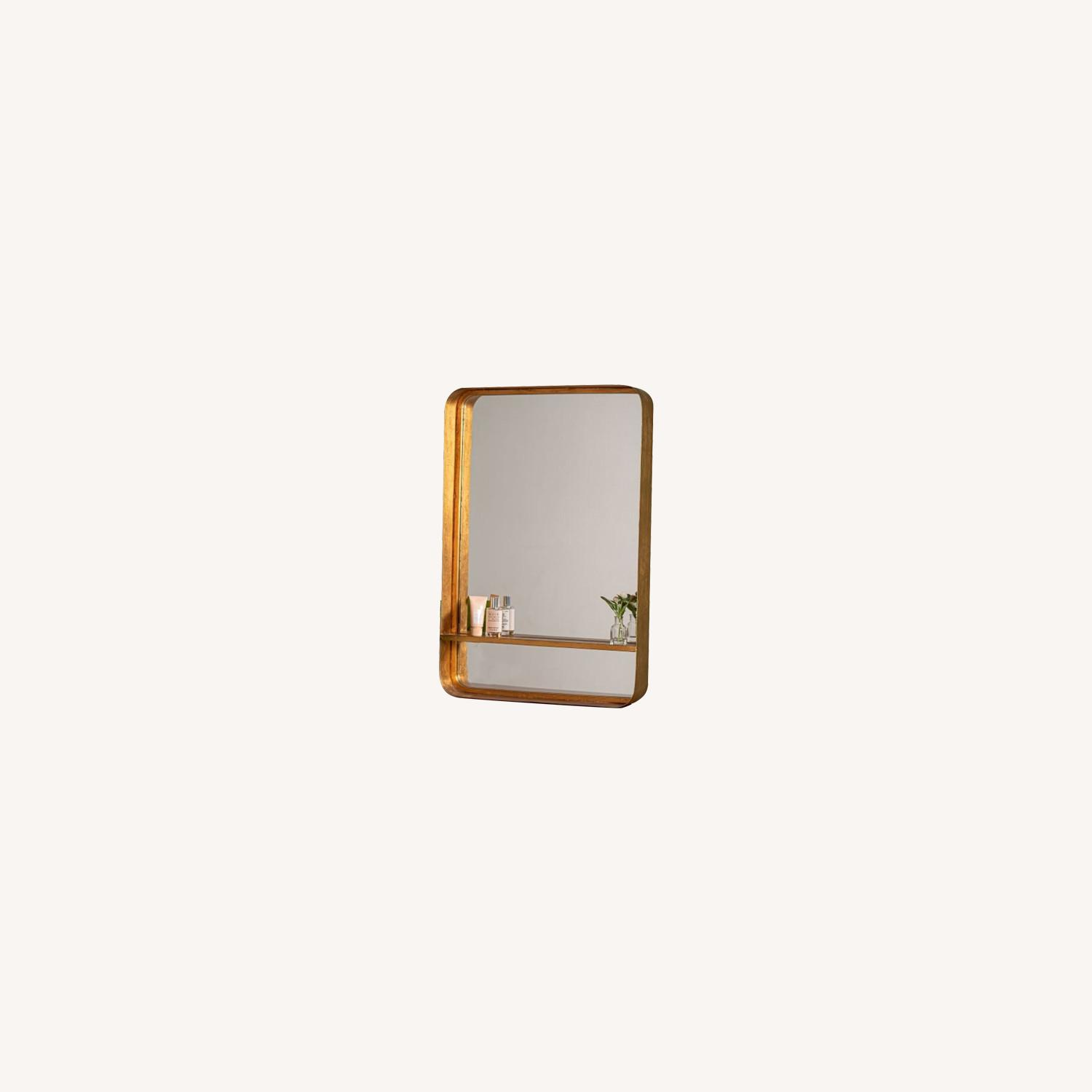 West Elm Gold Mirror with Shelf - image-0