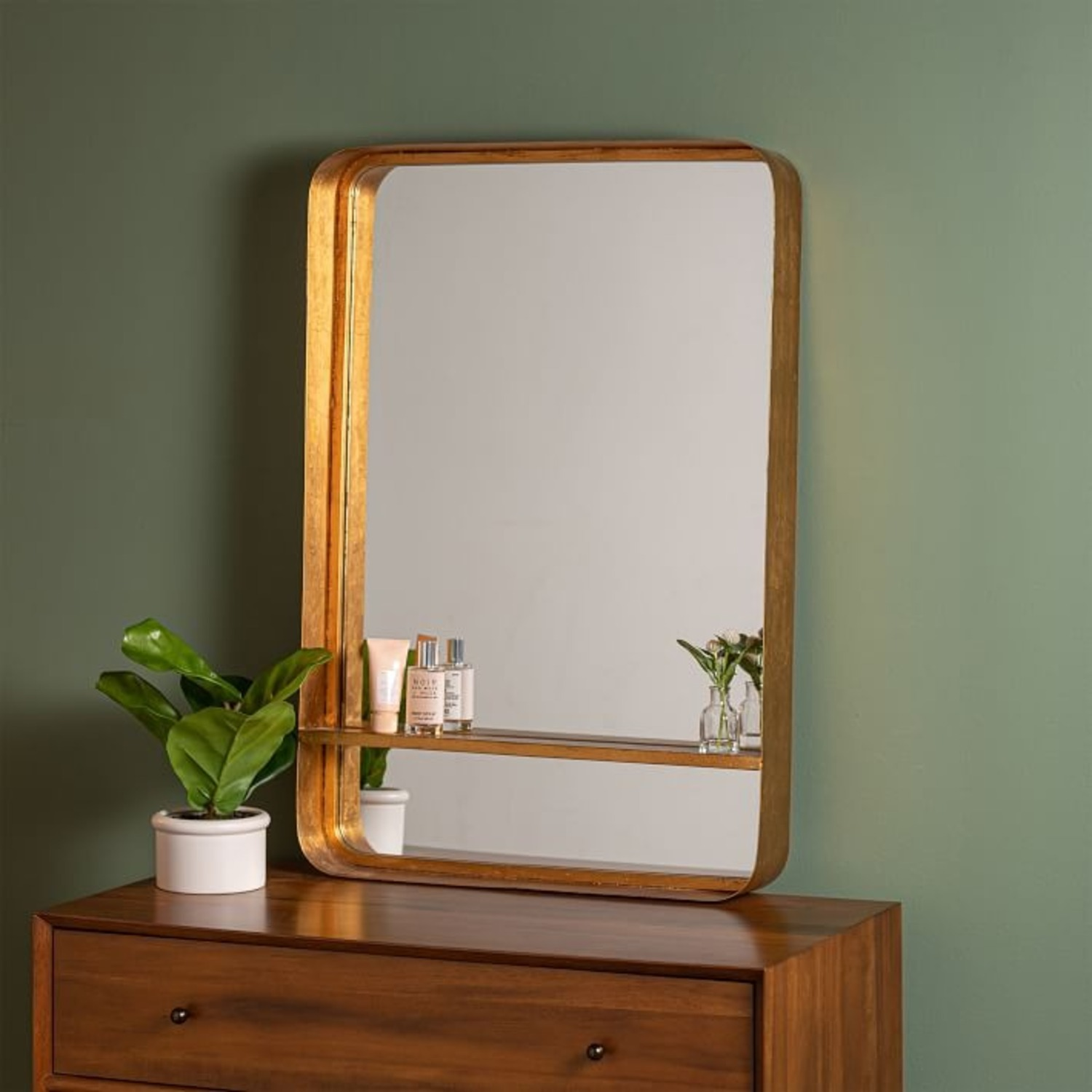 West Elm Gold Mirror with Shelf - image-1