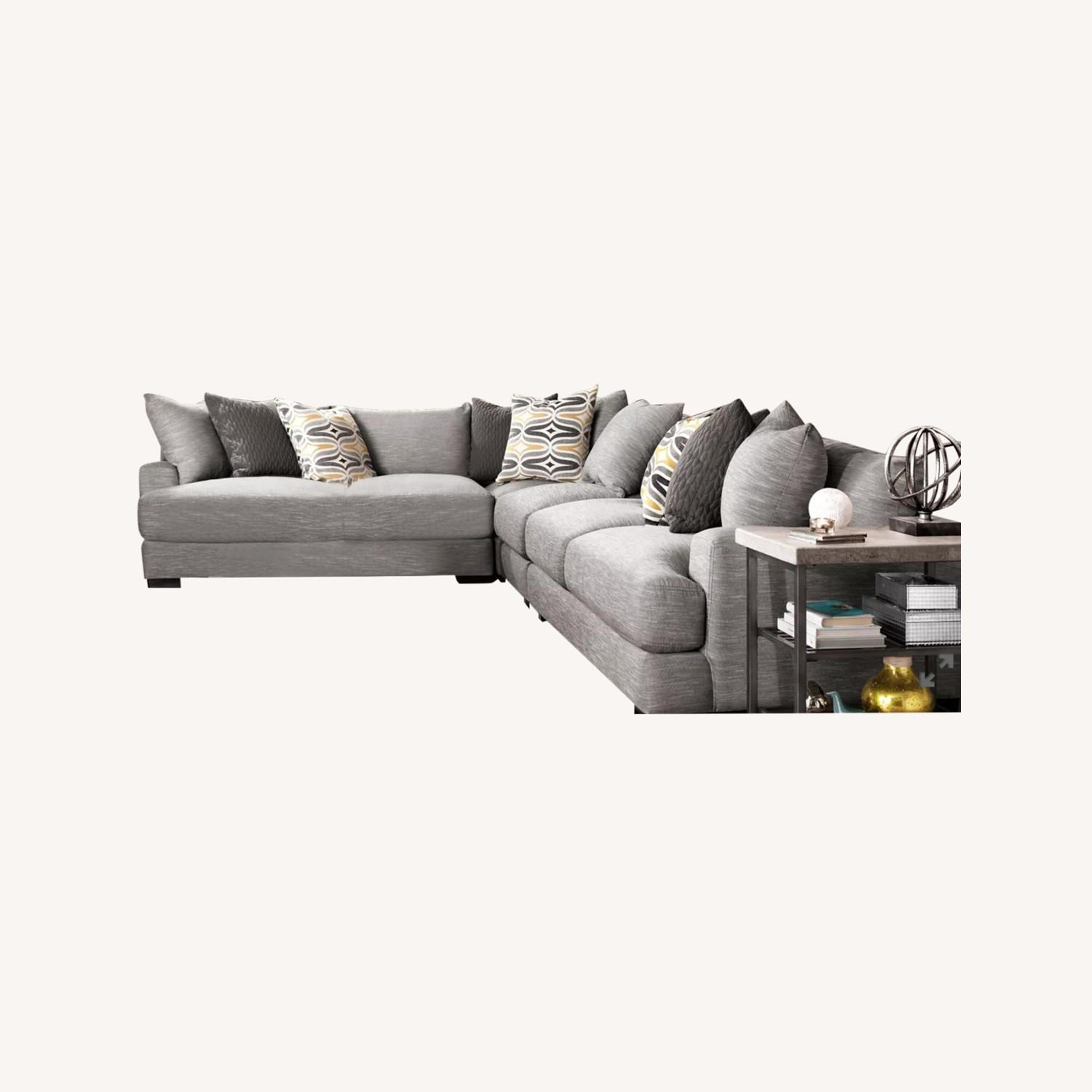 Grey 2-pc Section Sofa - image-0
