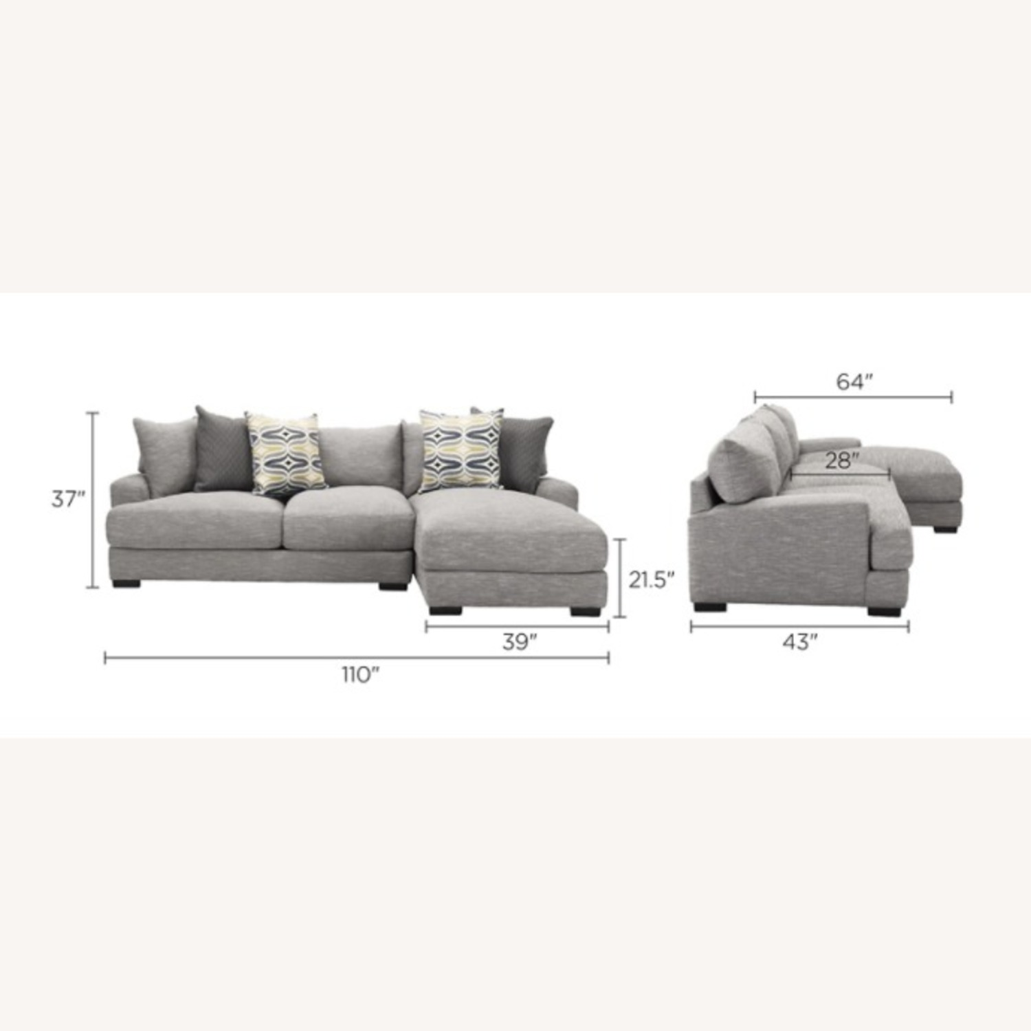 Grey 2-pc Section Sofa - image-3