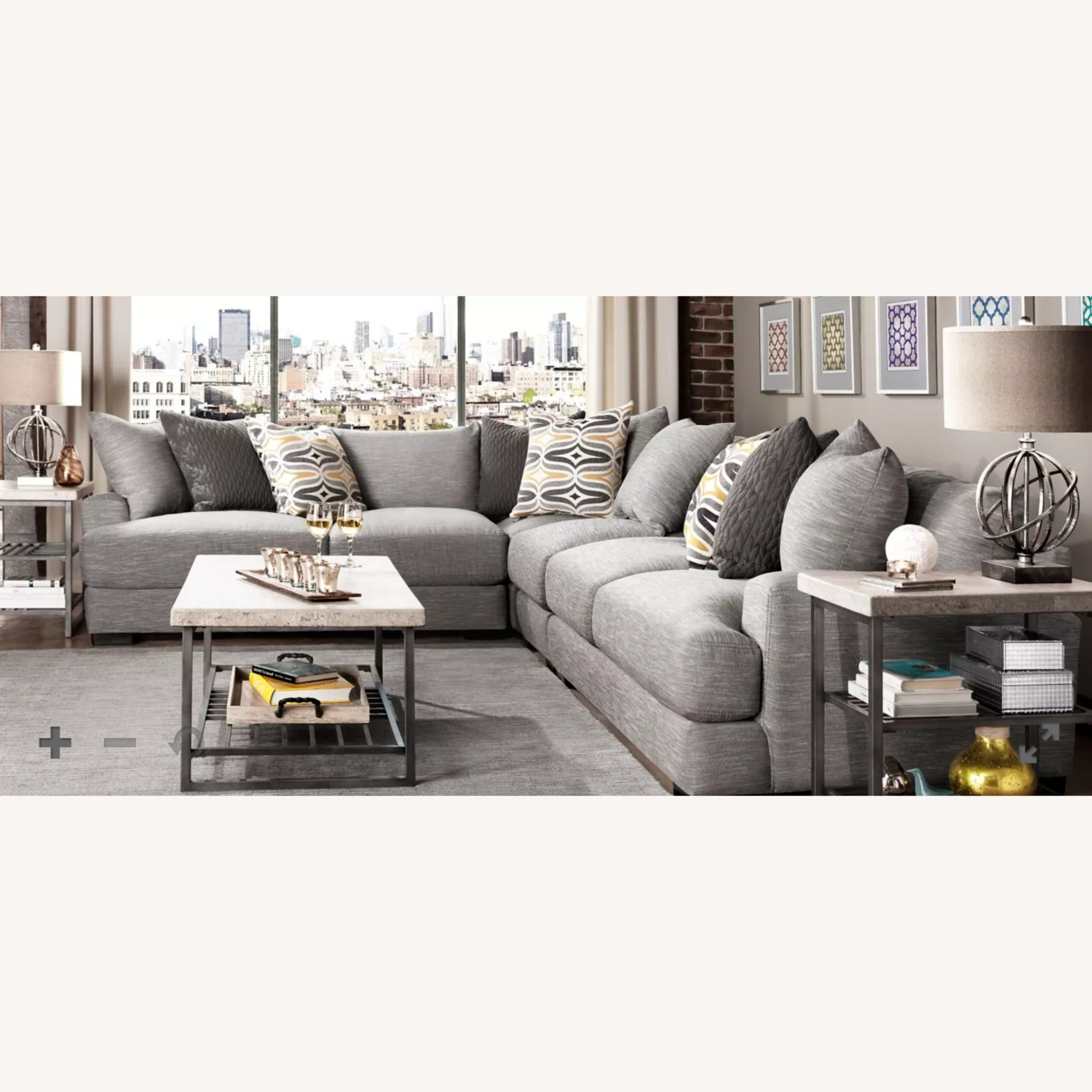 Grey 2-pc Section Sofa - image-4