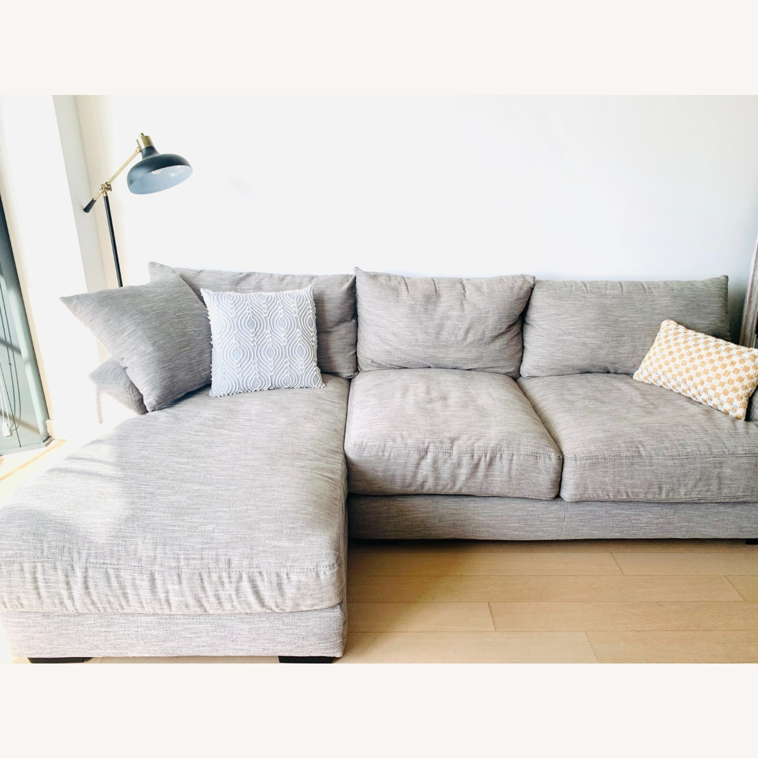 Grey 2-pc Section Sofa - image-1