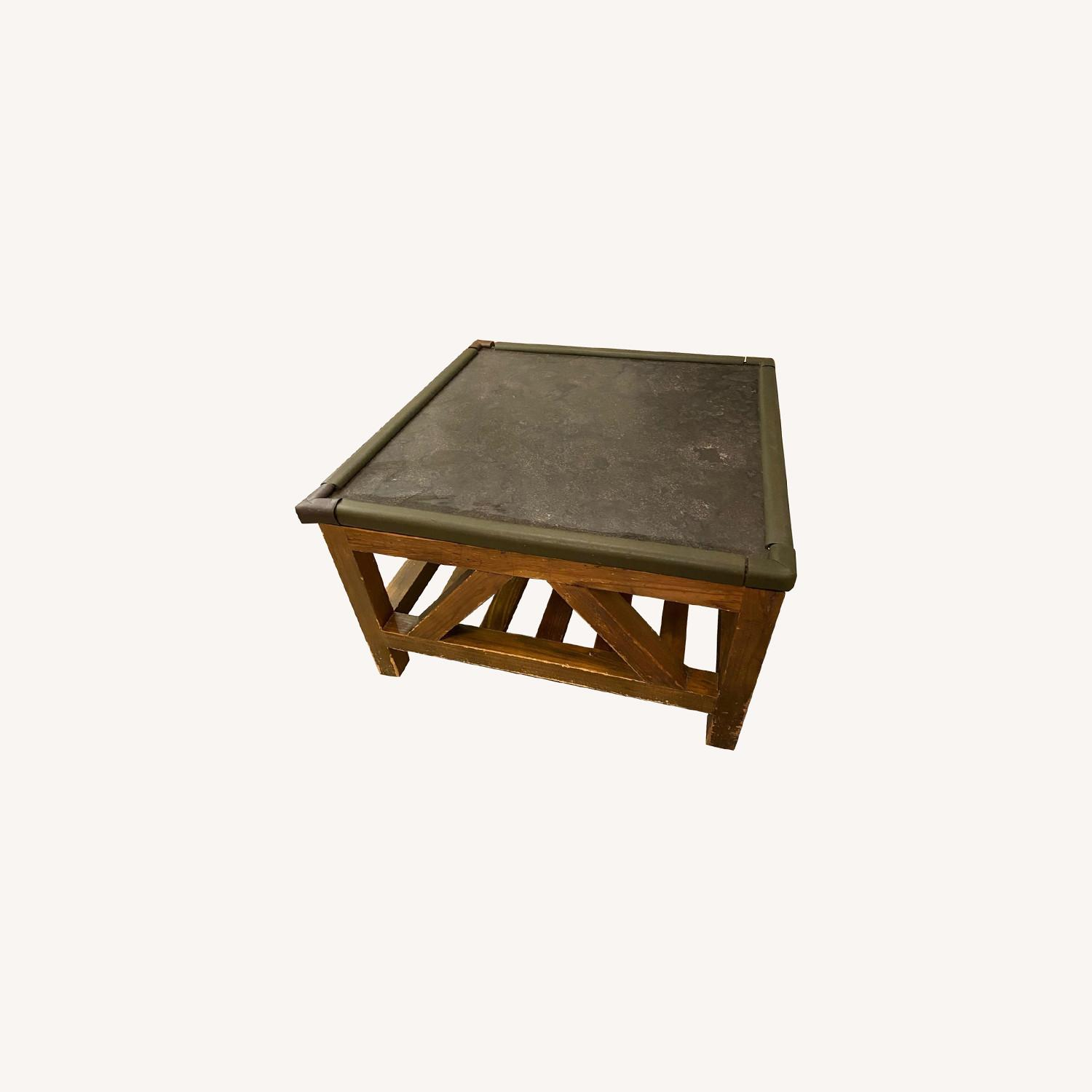 Macy's Natural Wood and Stone Coffee Table - image-0