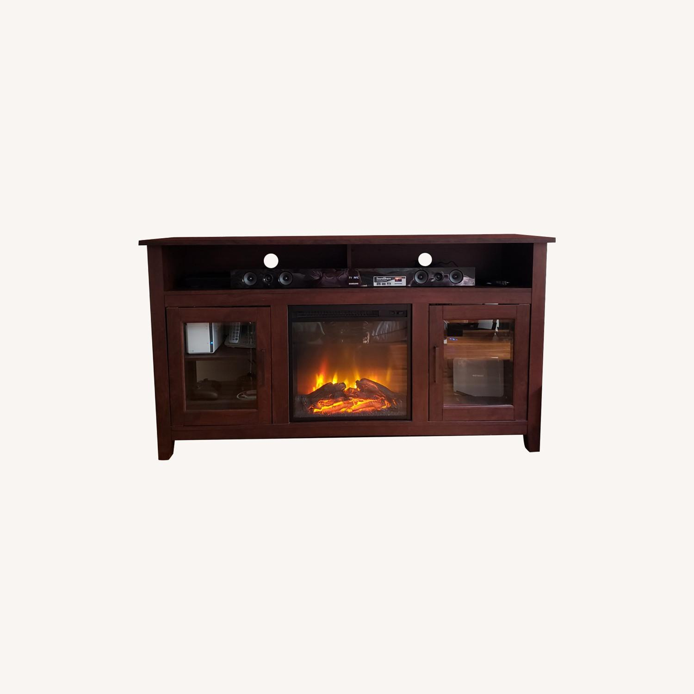 Wayfair Fireplace TV Stand Dark Brown - image-0