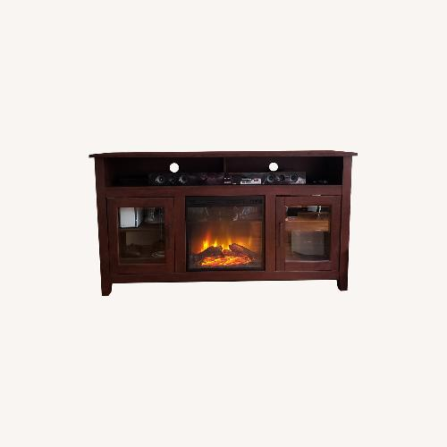Used Wayfair Fireplace TV Stand Dark Brown for sale on AptDeco