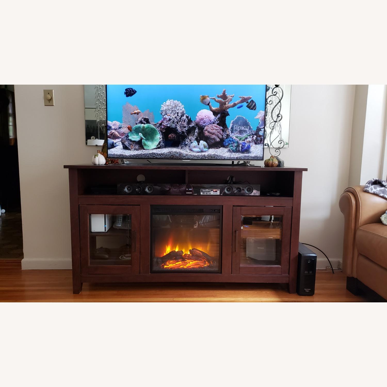 Wayfair Fireplace TV Stand Dark Brown - image-1