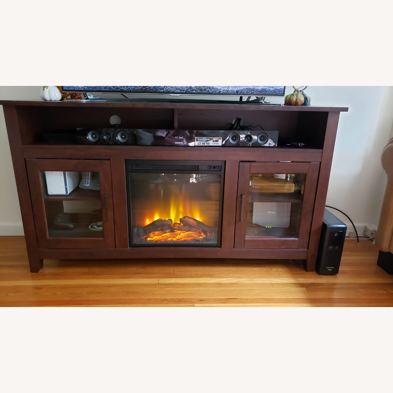 Wayfair Fireplace TV Stand Dark Brown - image-2