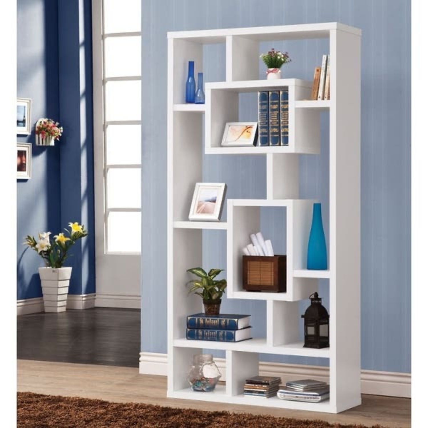 White Geometric Shelves - image-1