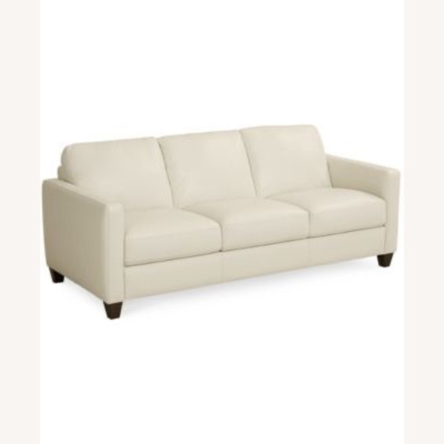 Macy's White Leather Three-seater Couch - image-9