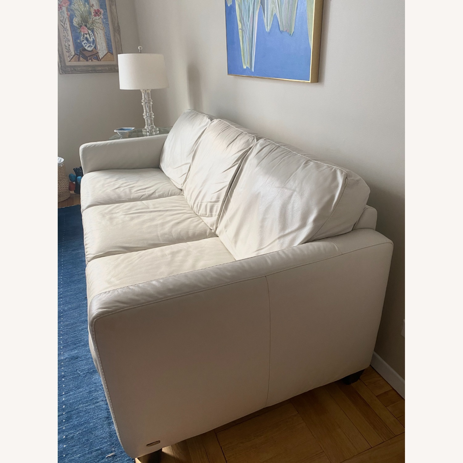 Macy's White Leather Three-seater Couch - image-3