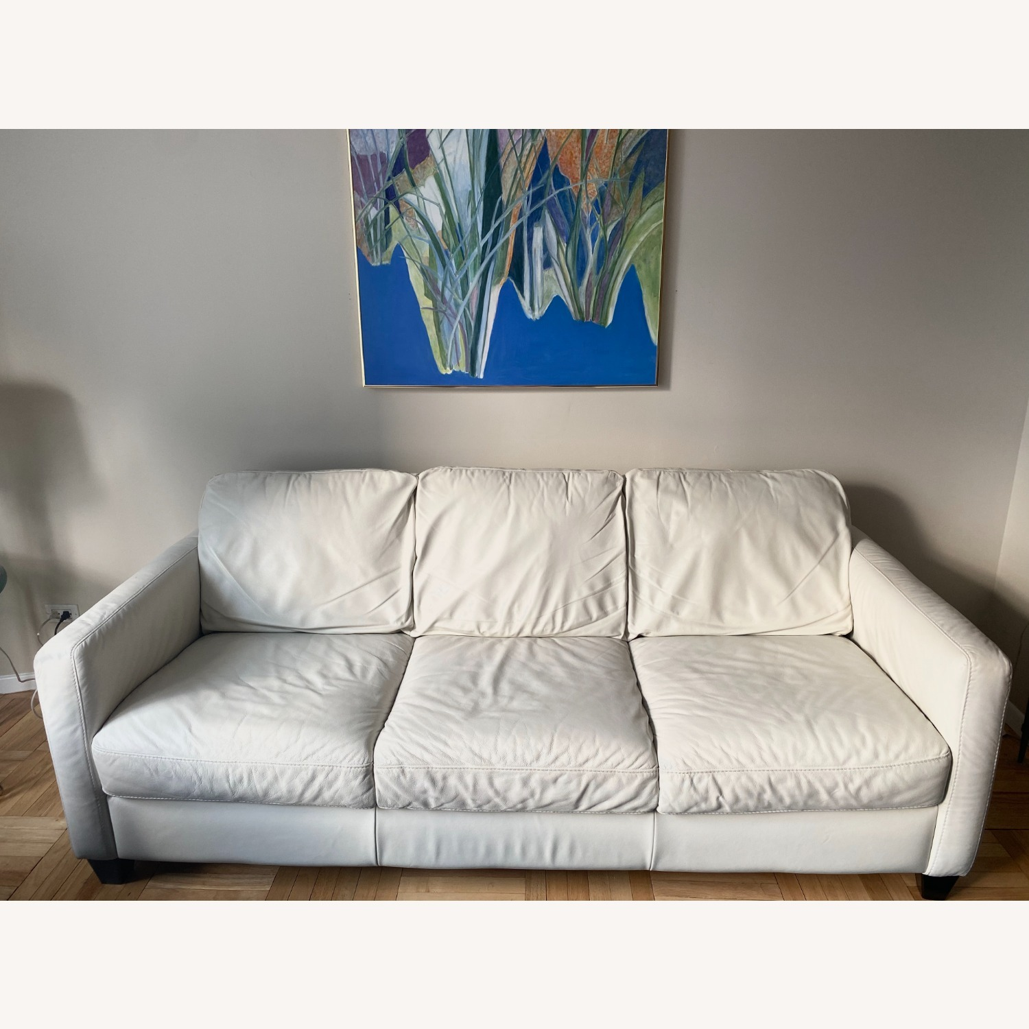 Macy's White Leather Three-seater Couch - image-1